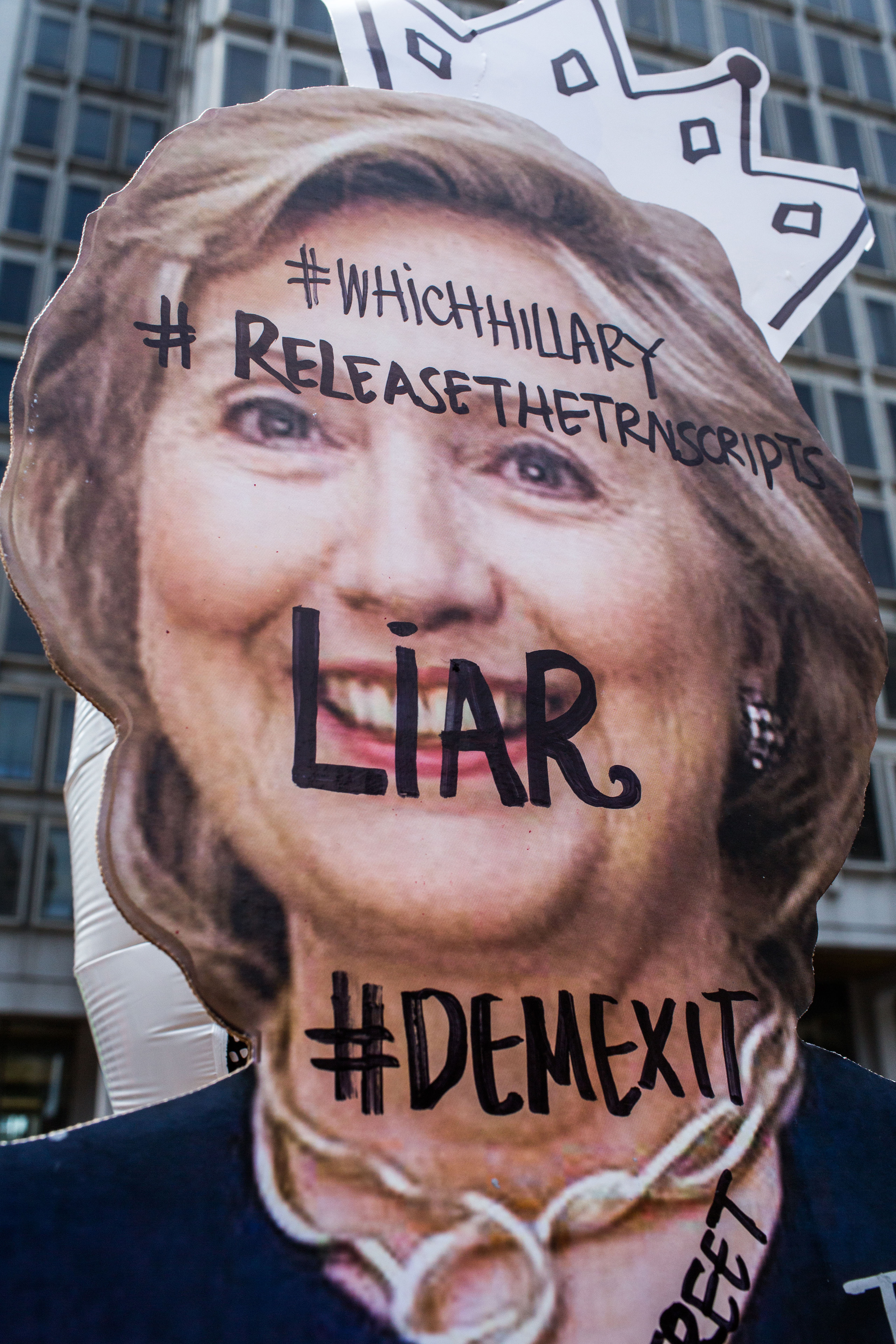 A Hillary Clinton cut out displayed at a protest near City Hall in Philadelphia on Tuesday afternoon at the Wells Fargo Center on July 26, 2016.