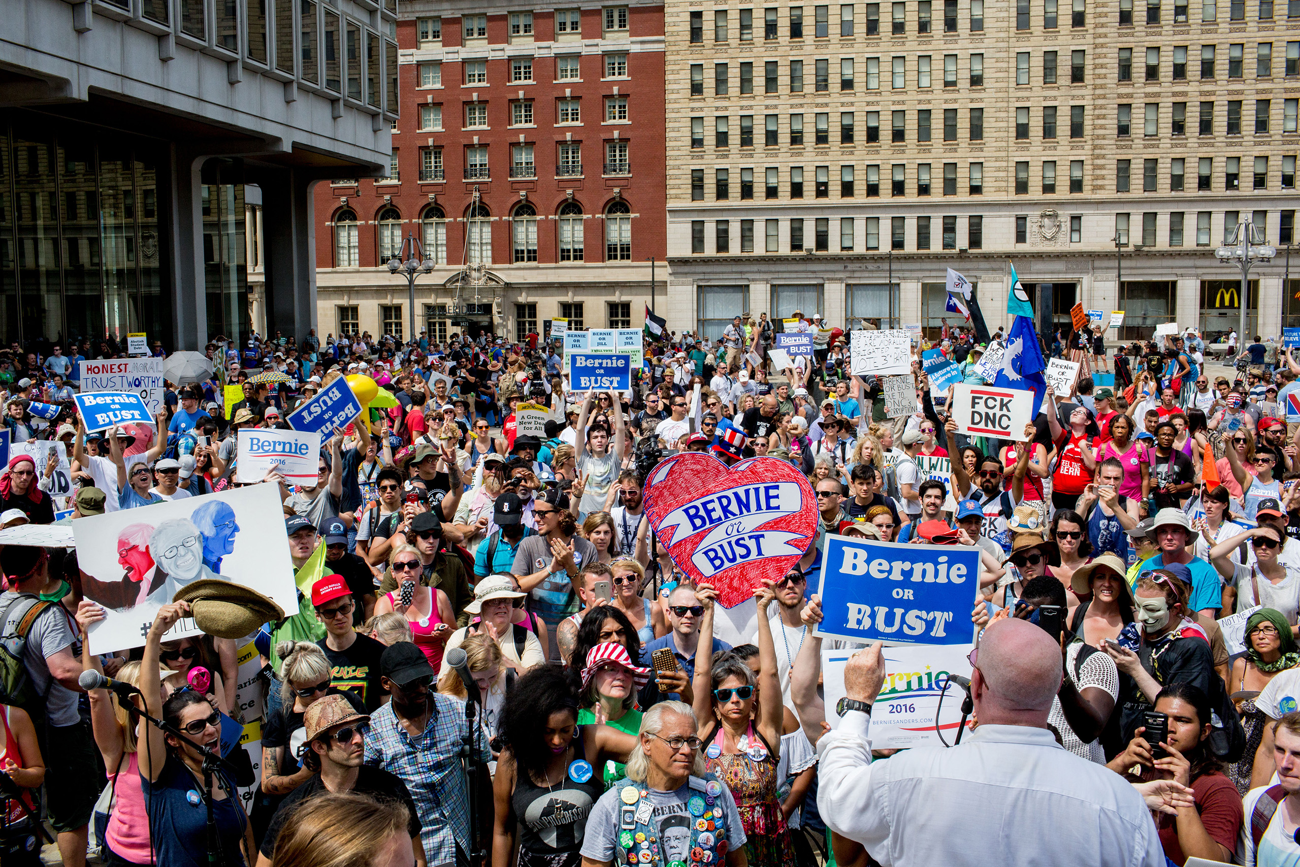 Protesters convened at City Hall in Philadelphia on Tuesday afternoon to watch speaker Jill Stein and protest the Democratic National Convention at the Wells Fargo Center on July 26, 2016 in Philadelphia.