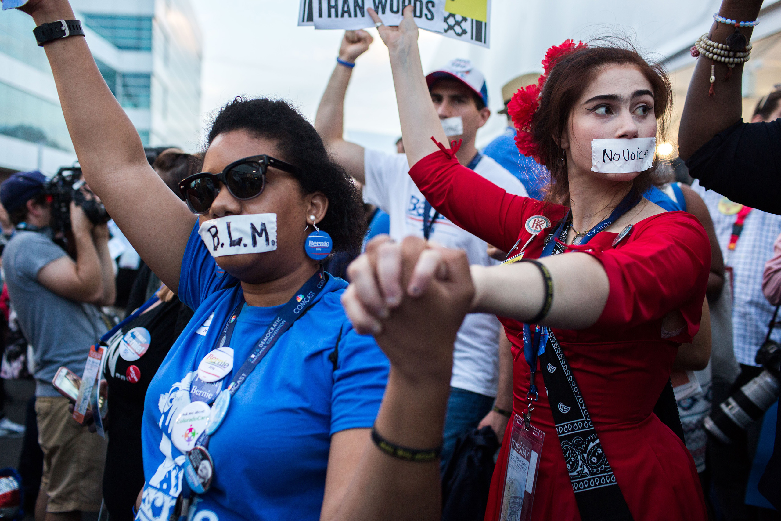 Protesters and pro Bernie Sanders delegates held a demonstration at the media tent during the Democratic National Convention at the Wells Fargo Center on July 26, 2016 in Philadelphia.
