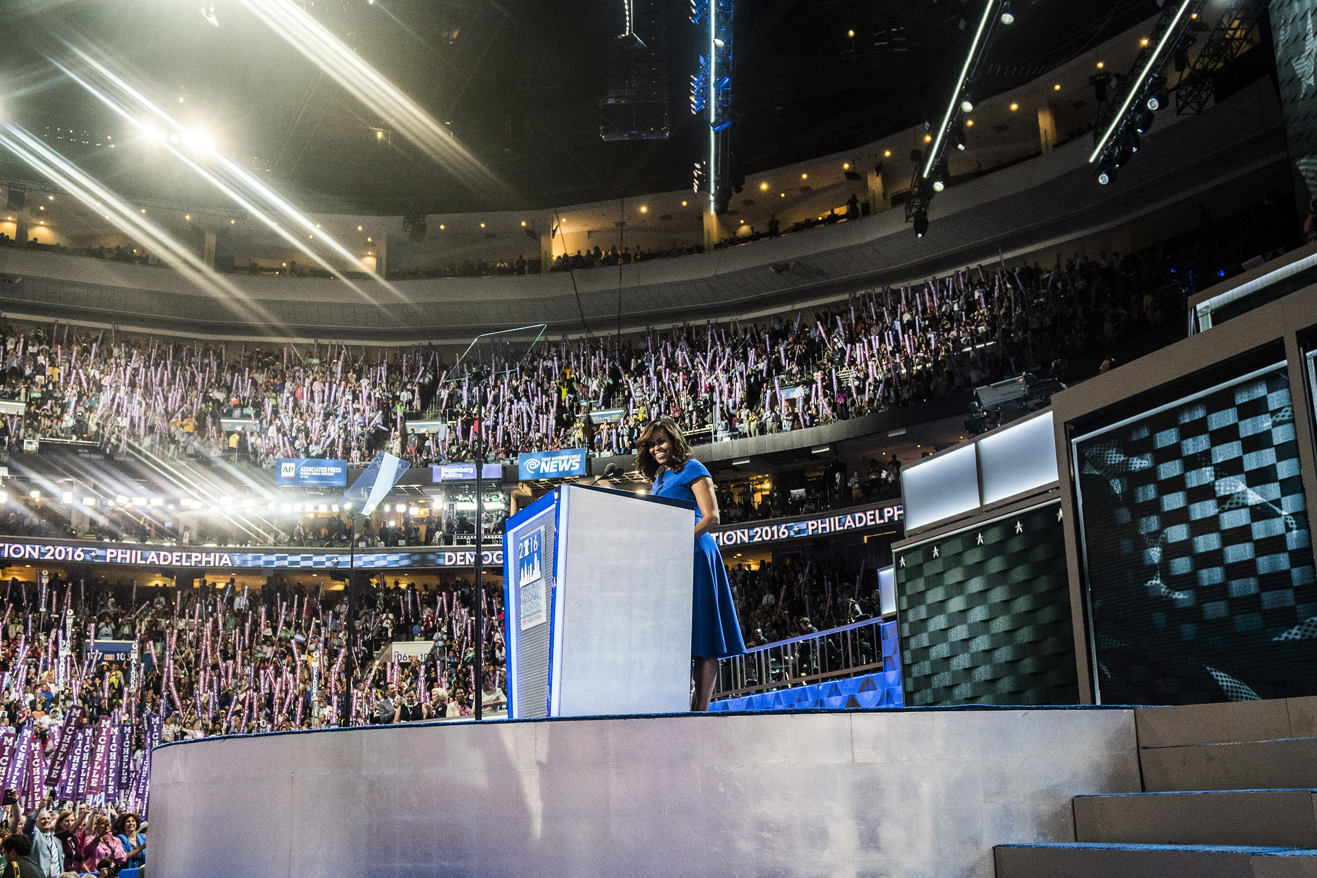 First lady Michelle Obama delivering remarks on the first day of the Democratic National Convention at the Wells Fargo Center, July 25, 2016 in Philadelphia, Pennsylvania.
