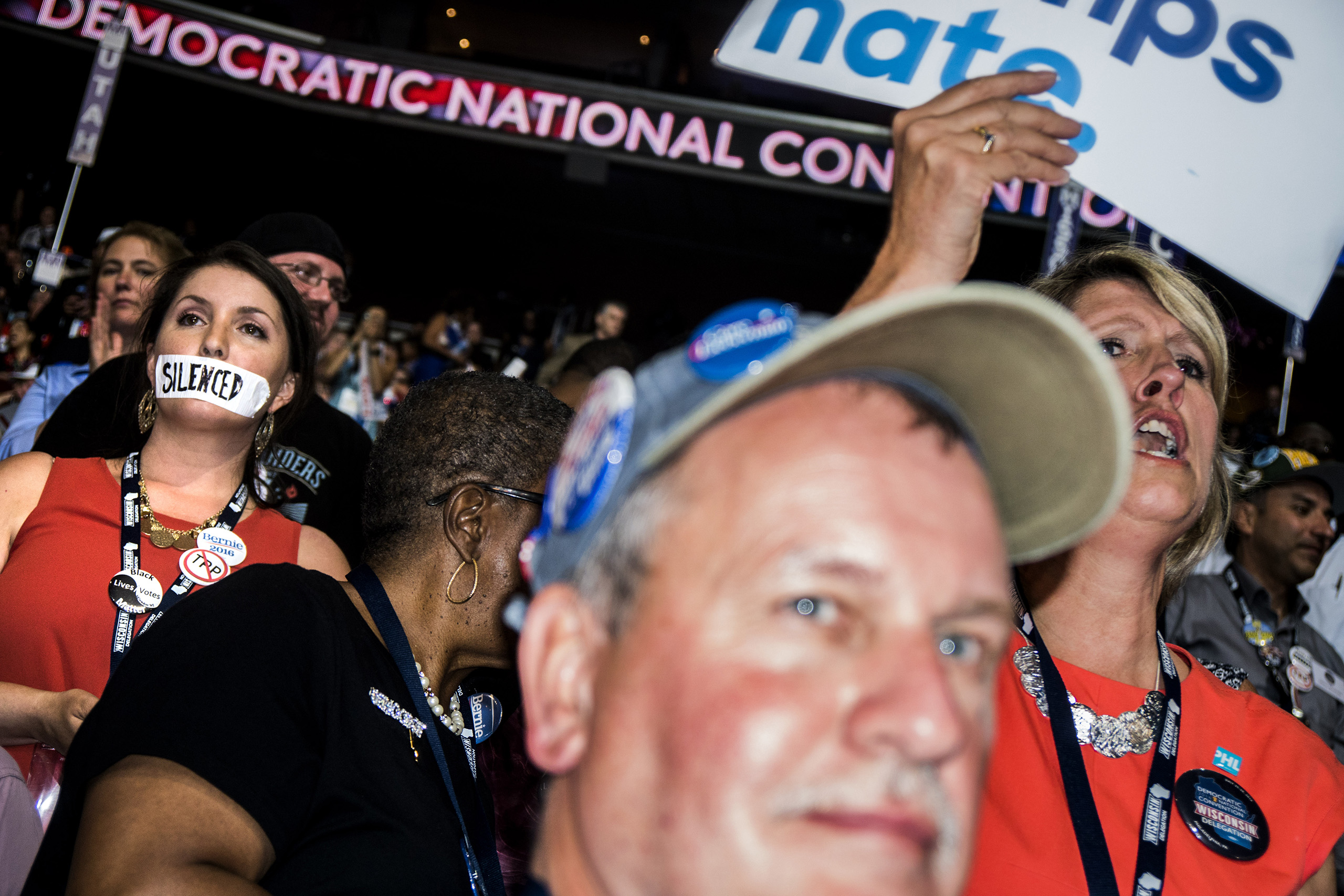 A supporter of former Democratic presidential candidate Bernie Sanders stands in silent protest during Day 1 of the Democratic National Convention at the Wells Fargo Center in Philadelphia, Pennsylvania, July 25, 2016.