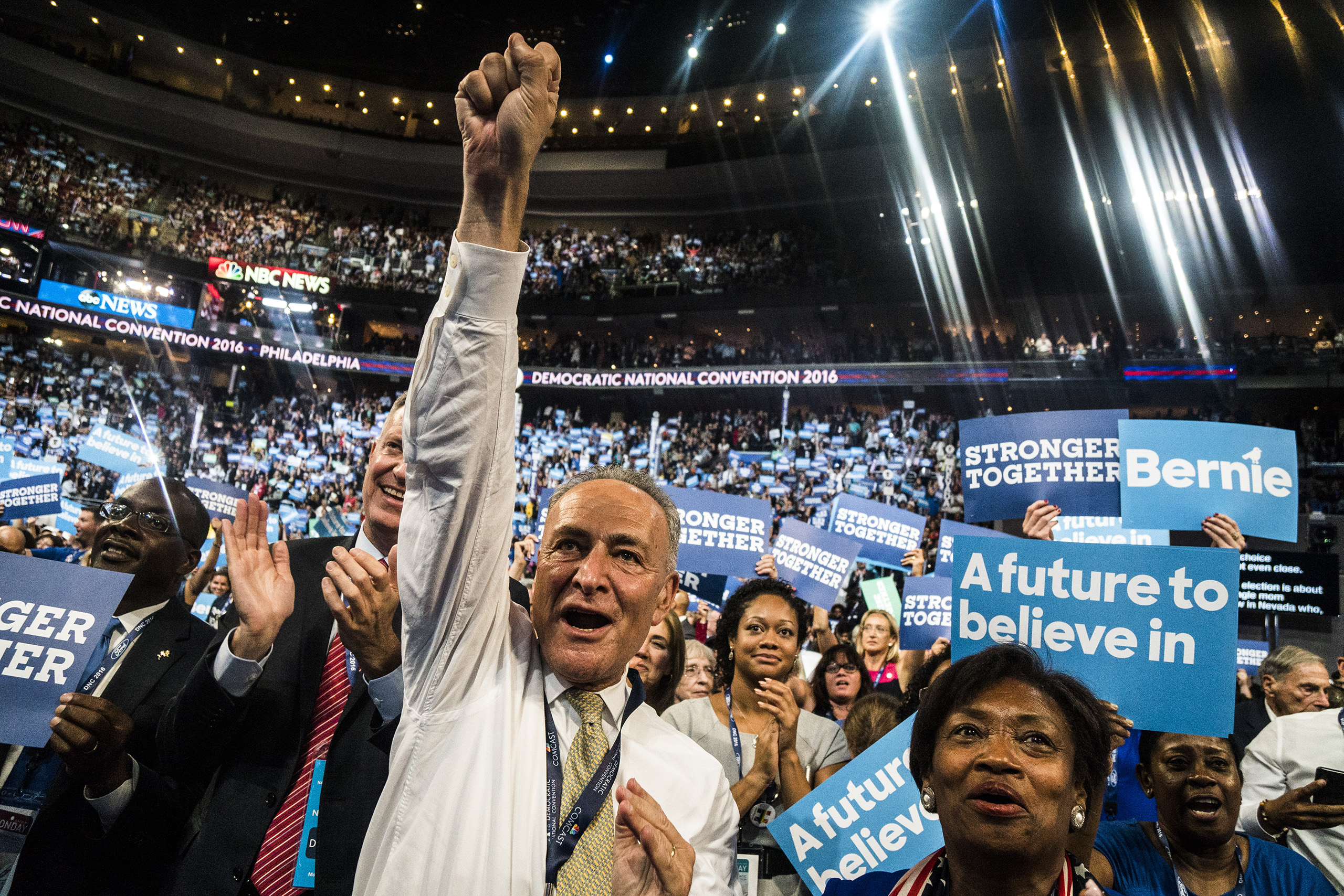 U.S. Sen. Chuck Shumeron the floor of the Democratic National Convention on Monday, July 25, 2016.
