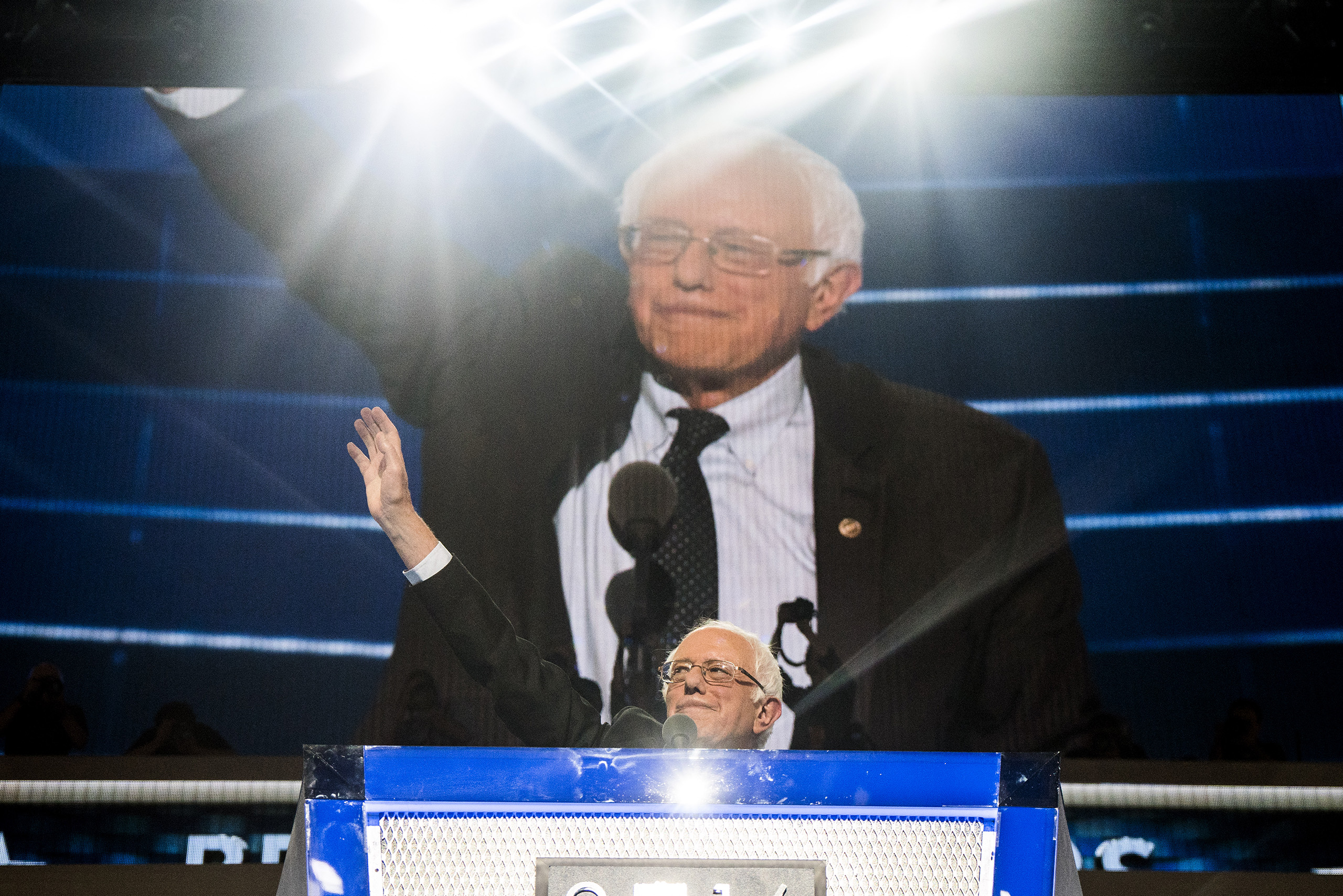 Sen. Bernie Sanders acknowledges the crowd before delivering remarks on the first day of the Democratic National Convention at the Wells Fargo Center, July 25, 2016 in Philadelphia, Pennsylvania.