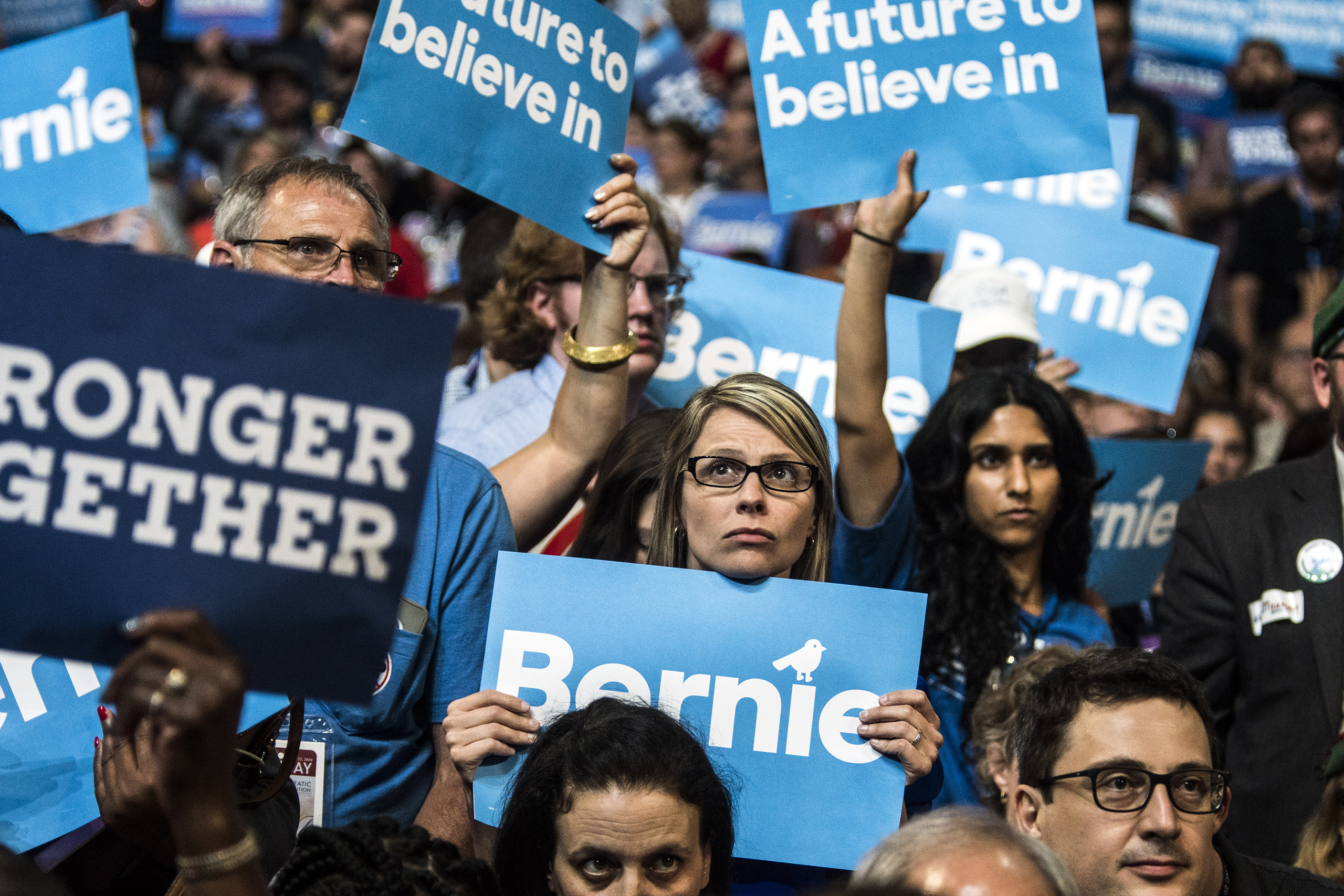 Sanders supporters during his speech on the first day of the Democratic National Convention at the Wells Fargo Center, July 25, 2016 in Philadelphia, Pennsylvania.
