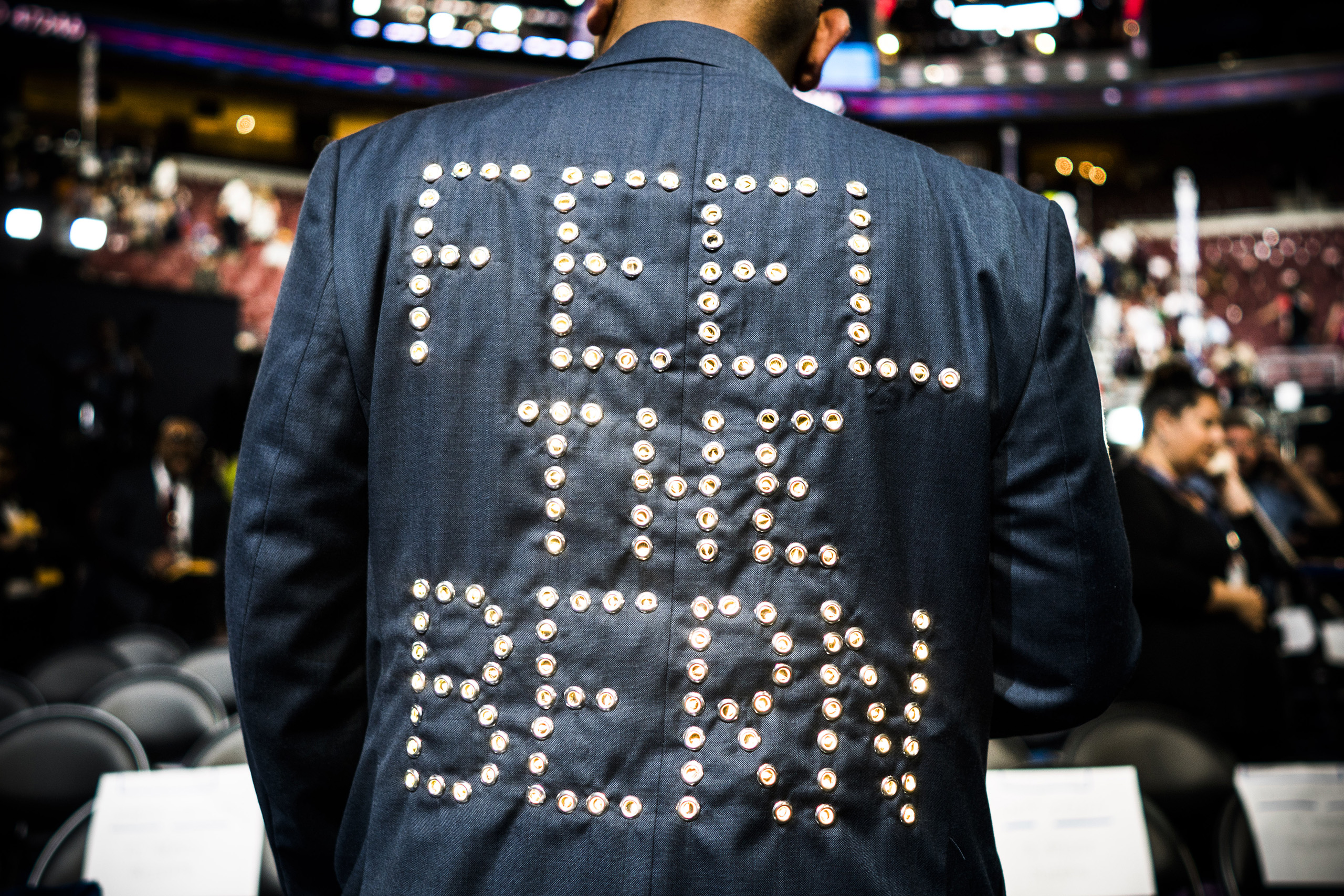 The back of a Sanders supporter's jacket on the first day of the Democratic National Convention at the Wells Fargo Center, July 25, 2016 in Philadelphia, Pennsylvania.