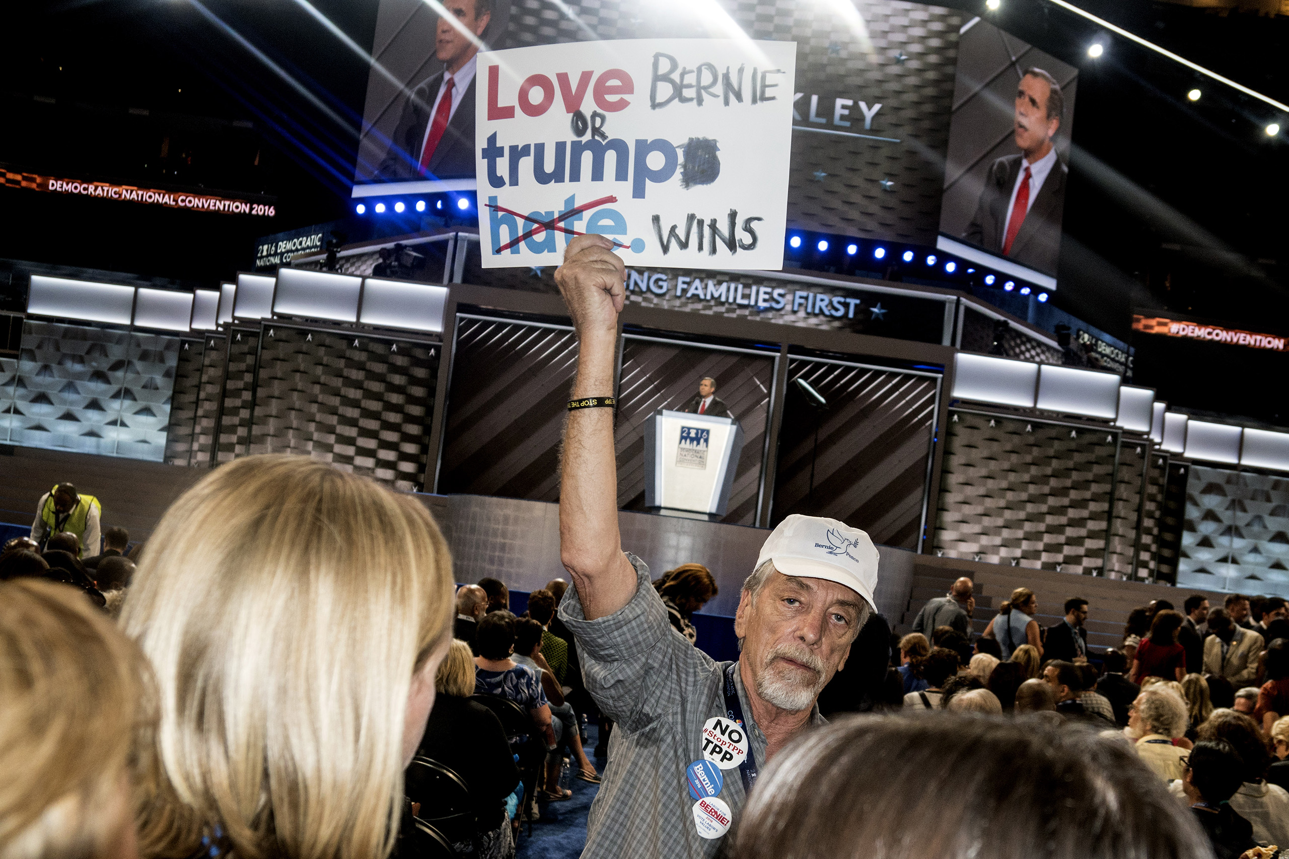 A supporter of Bernie Sanders on the first day of the Democratic National Convention at the Wells Fargo Center, July 25, 2016 in Philadelphia, Pennsylvania.
