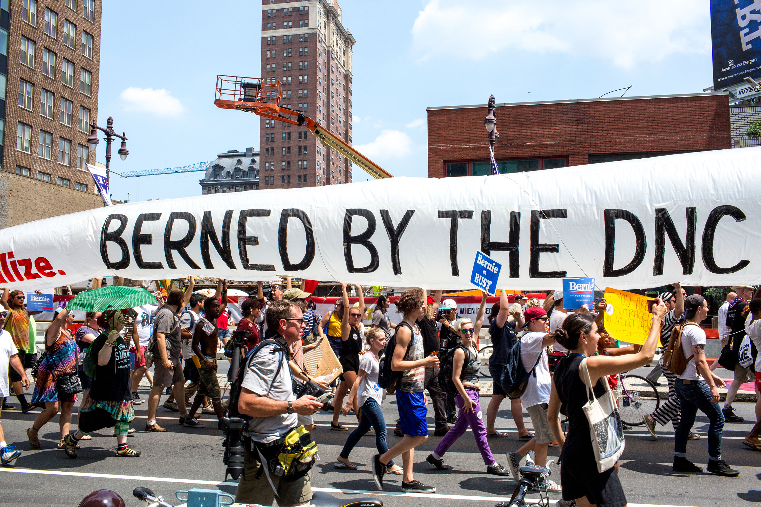Protesters march from City Hall to the Democratic National Convention at the Wells Fargo Center on July 25, 2016 in Philadelphia, PA.