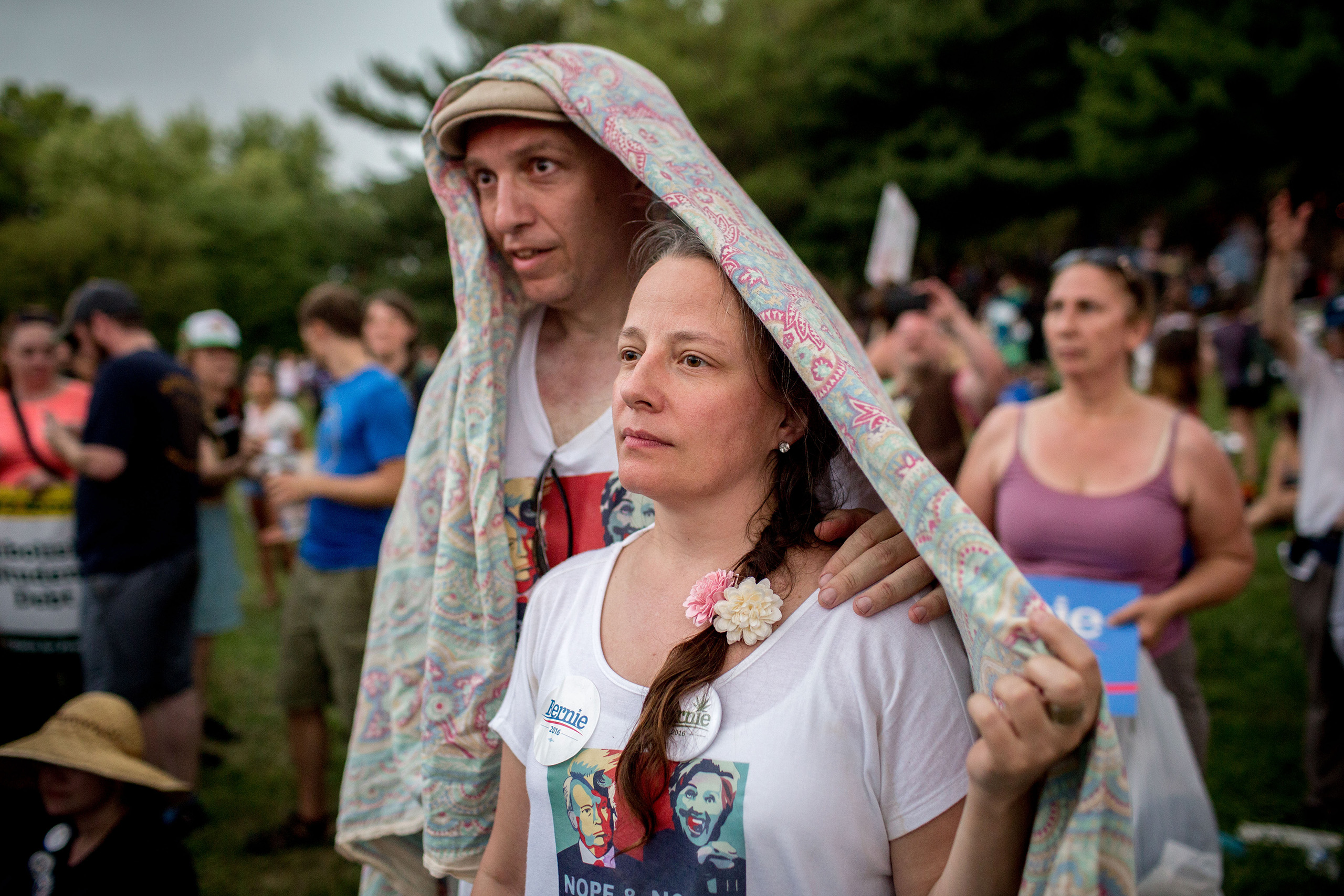 Protesters convened at Franklin Roosevelt Park outside the Democratic National Convention at the Wells Fargo Center on July 25, 2016 in Philadelphia, PA. At a tent pitched in the park, they were addressed by many speakers including Green Party Candidate Jill Stein.