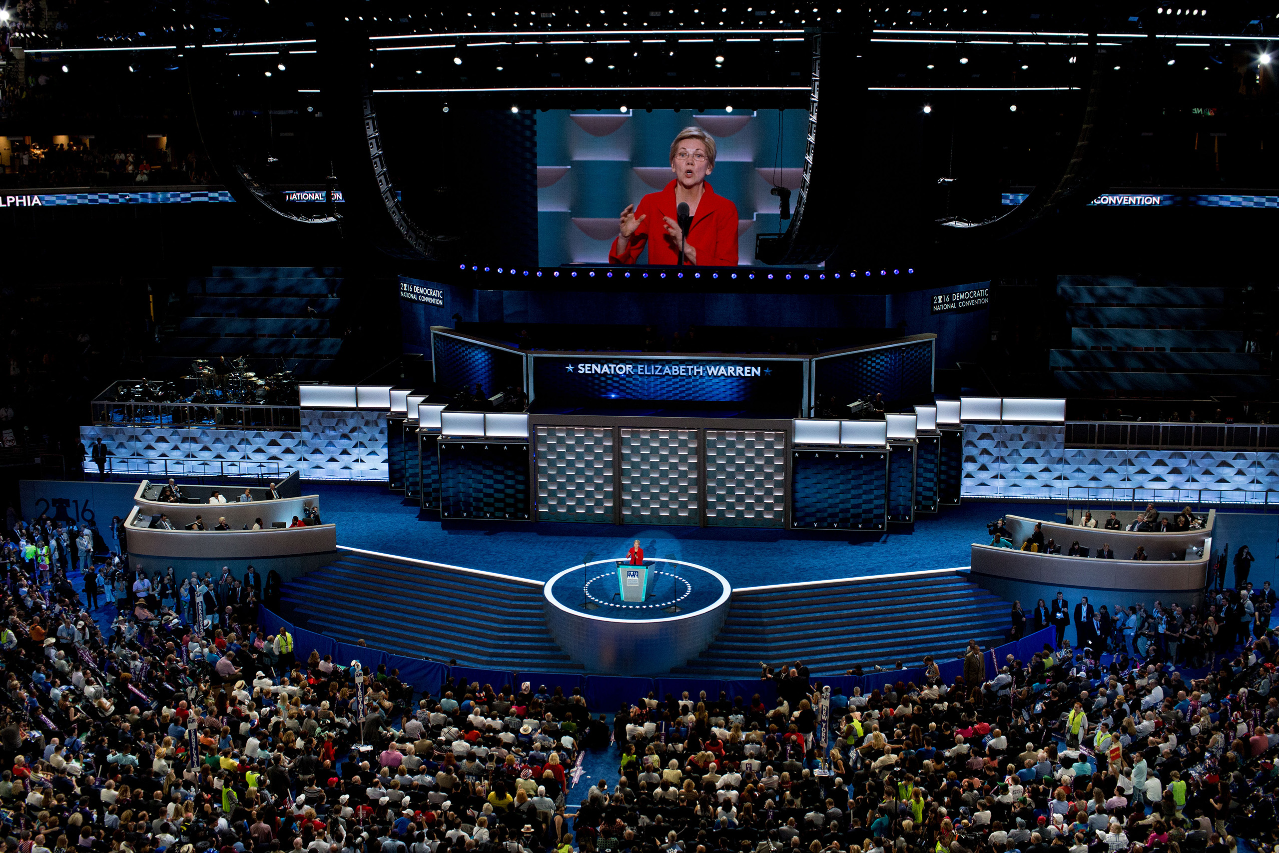 The Democratic convention stage was more generic, with solid colors and patterns and a monitor that showcased the speaker of the moment.