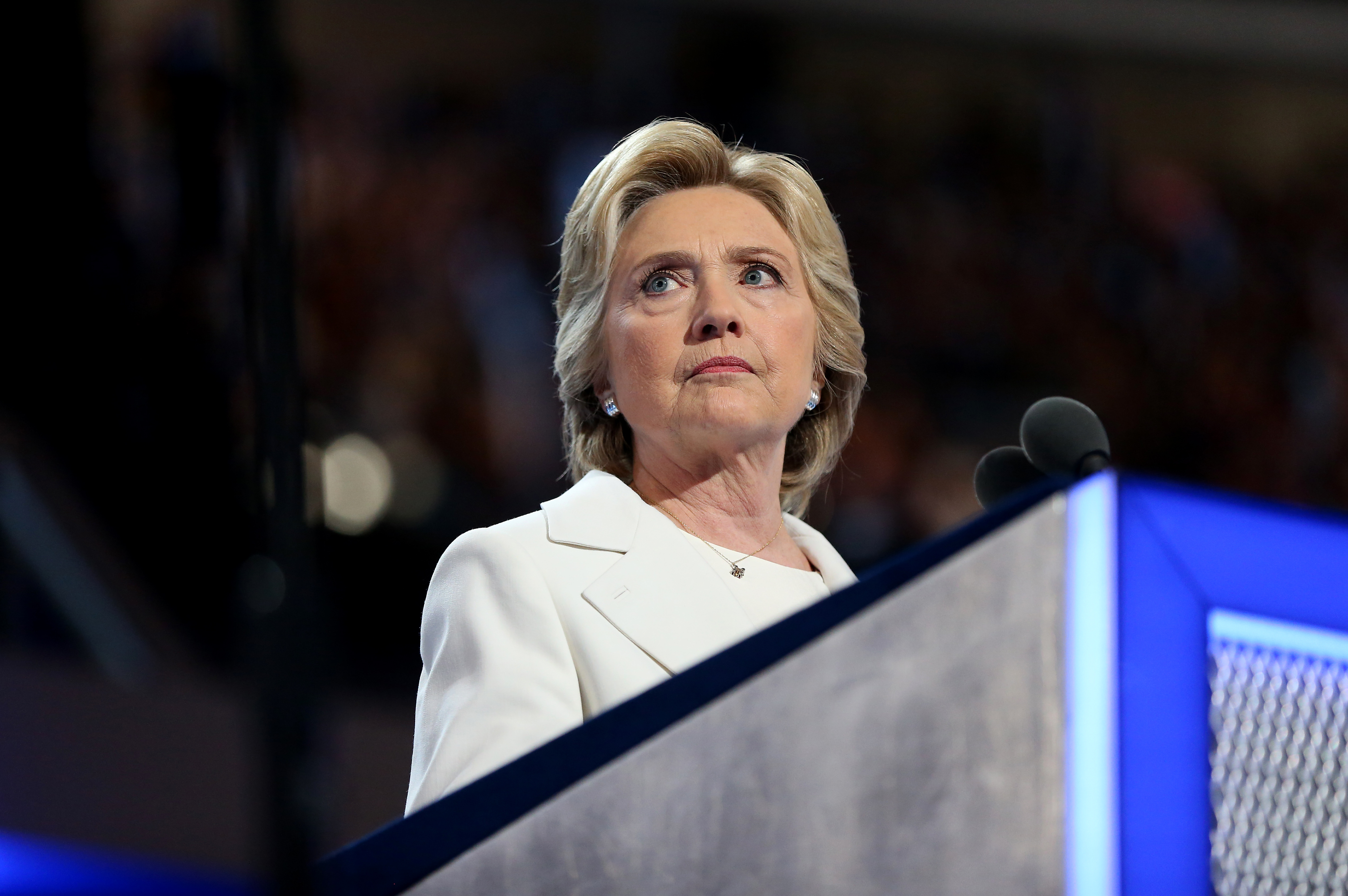 Hillary Clinton, 2016 Democratic presidential nominee, pauses during her speech at the Democratic National Convention on  July 28, 2016.