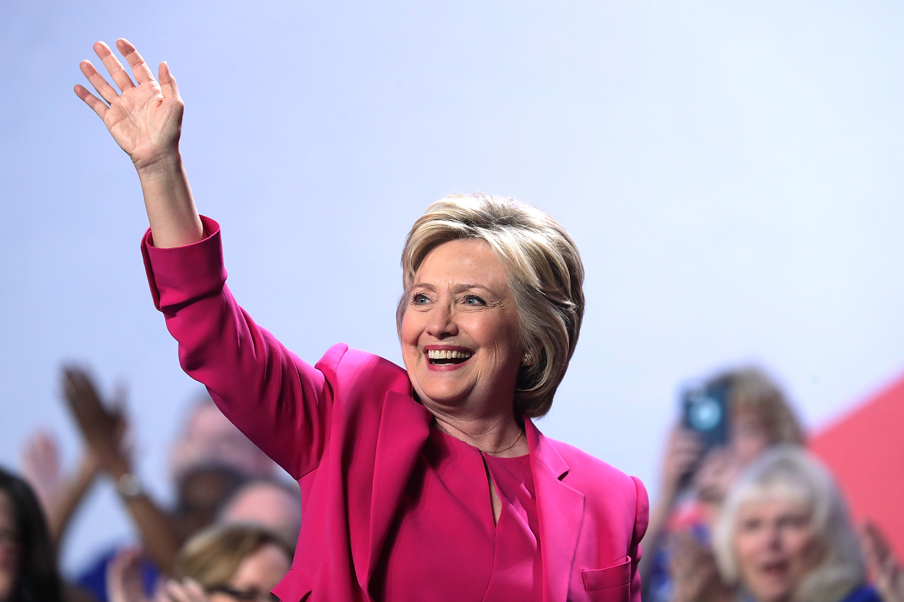 Democratic presidential candidate Hillary Rodham Clinton waves after she addressed the 95th Representative Assembly of the National Education Association on July 5, 2016 in Washington, DC.