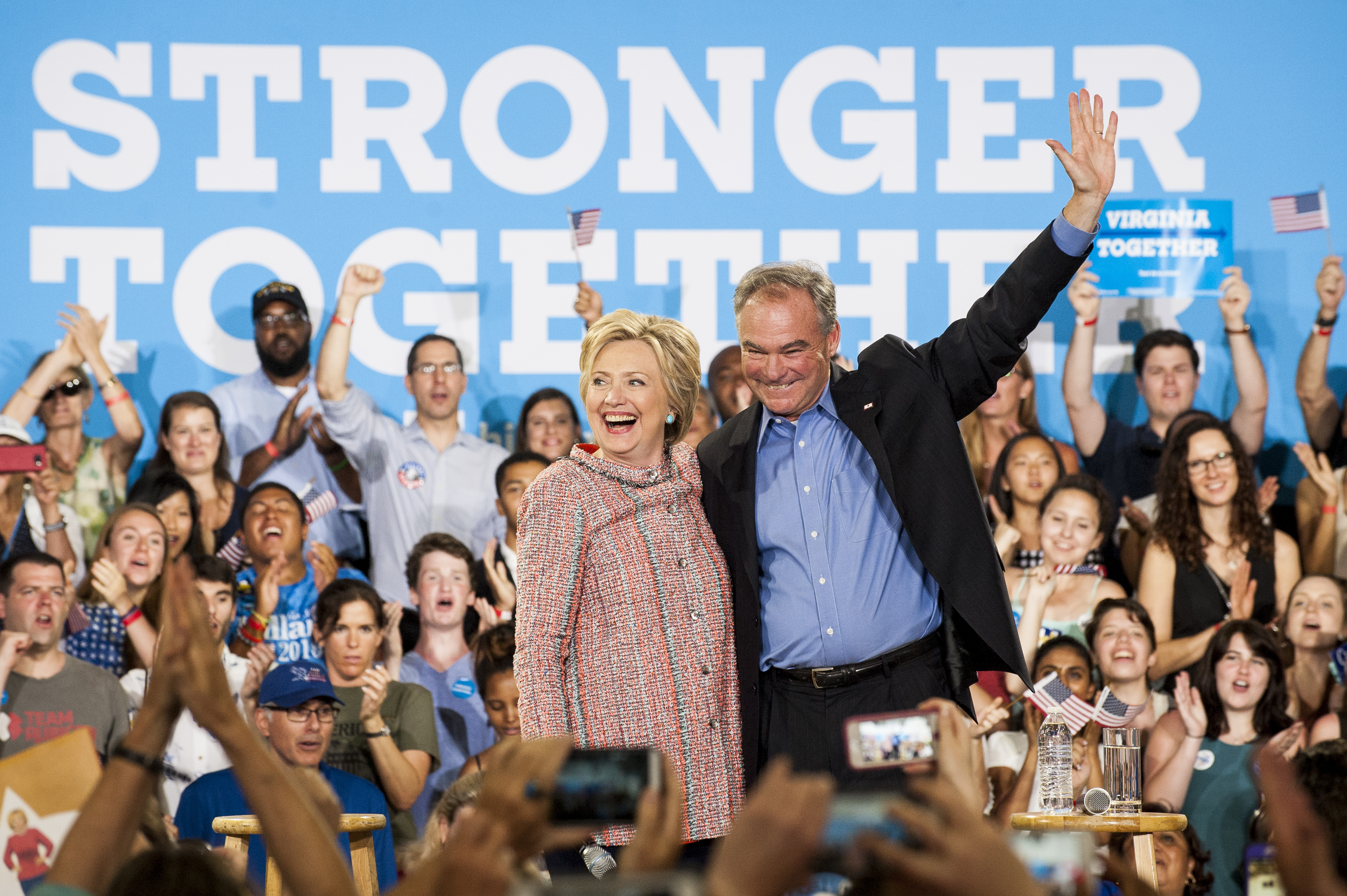 OFFICIAL HILLARY CLINTON TIM KAINE  VICTORY  Stronger Together 2016 Button