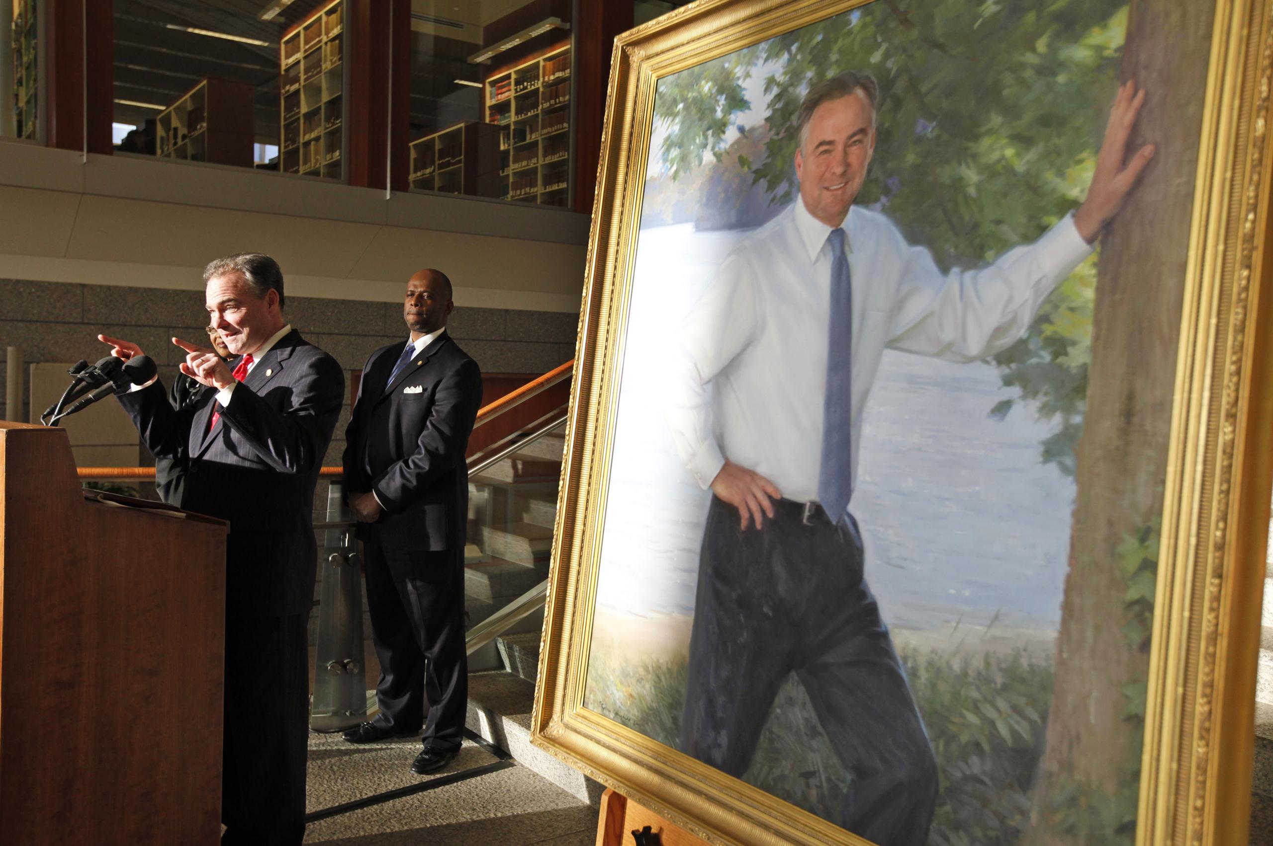 Virginia Gov. Tim Kaine gestures as he speaks during his portrait unveiling ceremony in Richmond on Jan. 5, 2010.