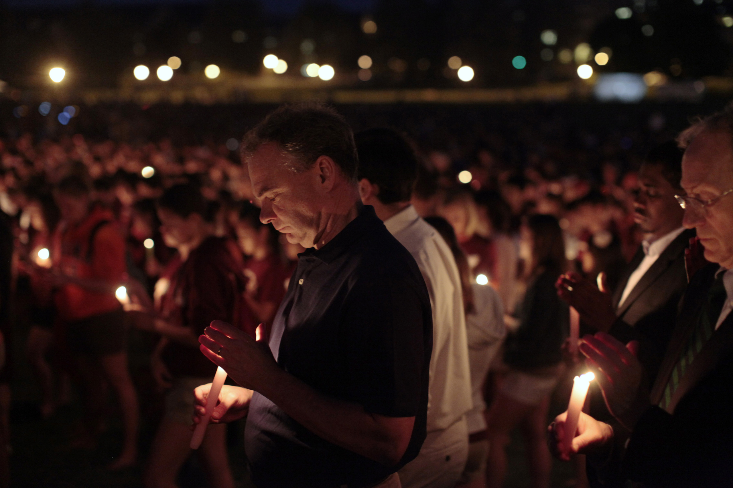 Former Governor of Virginia and Democratic U.S. Sen. candidate Tim Kaine  attends a candlelight vigil held on campus at Virginia Tech in Blacksburg, Va. on April 16, 2012.