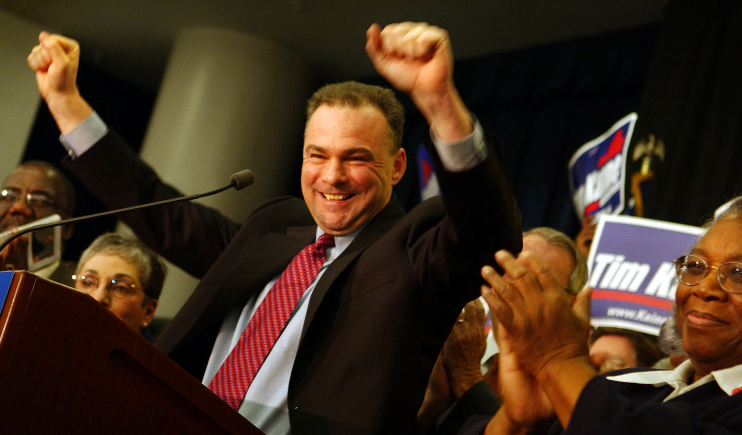 Surrounded by supporters and local politicians, Virginia Lt. Gov. Tim Kaine celebrates during a campaign kick-off rally for his gubernatorial race at Old dominion University in Norfolk, Va., on March 16, 2005.
