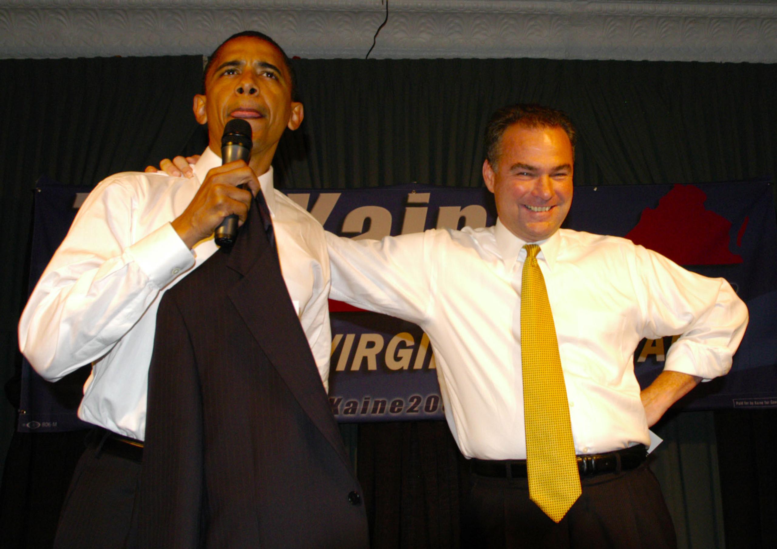 Senator Barack Obama, left, lends support to Tim Kaine who is running for Va.. Governor in Arlington, Va. on July 20, 2005.