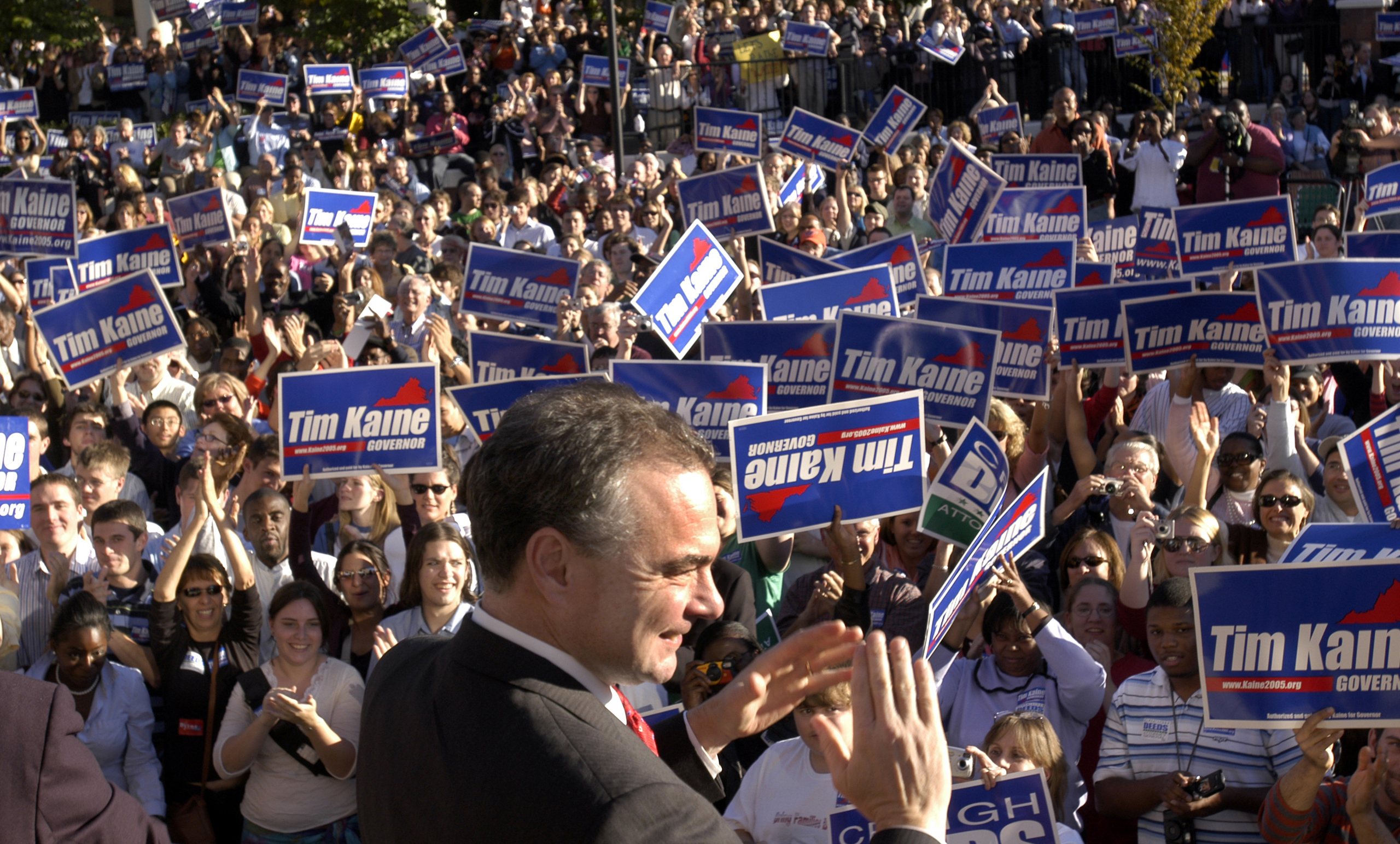 Virginia Democratic candidate for governor, Tim Kaine, appears at a rally at Virginia Commonwealth University in Richmond, Va. on Oct. 30, 2005.