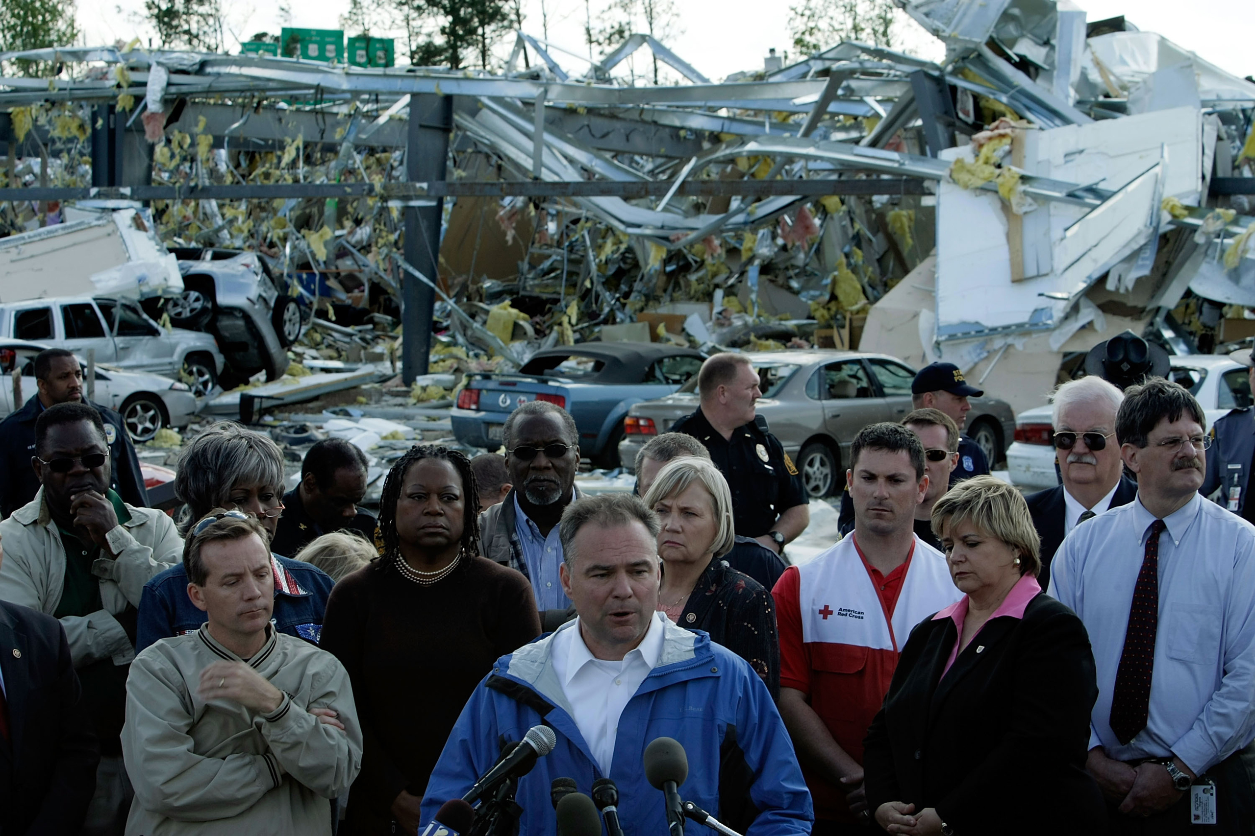 Virginia Gov. Tim Kaine speaks to the media after he toured an area that suffered damaged from one of a spate of tornados to touch down in the Elephant's Fork area of Suffolk, Va. on April 29, 2008.