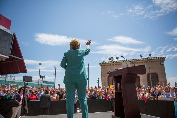 Presumptive Democratic presidential nominee Hillary Clinton waves good-bye to the crowd at a rally on the boardwalk in Atlantic City, N.J., on July 6, 2016.