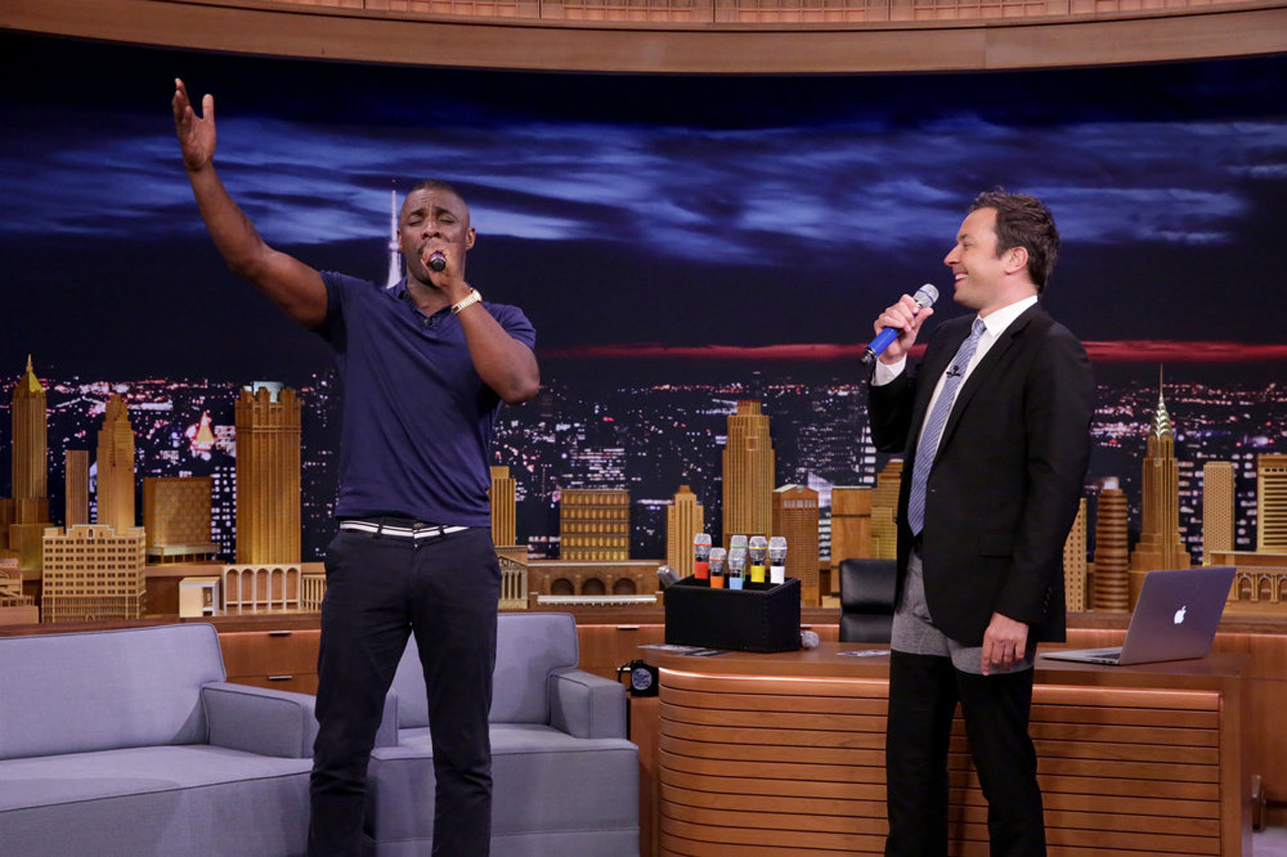 Actor Idris Elba and host Jimmy Fallon during  Box of Microphones  on July 19, 2016.