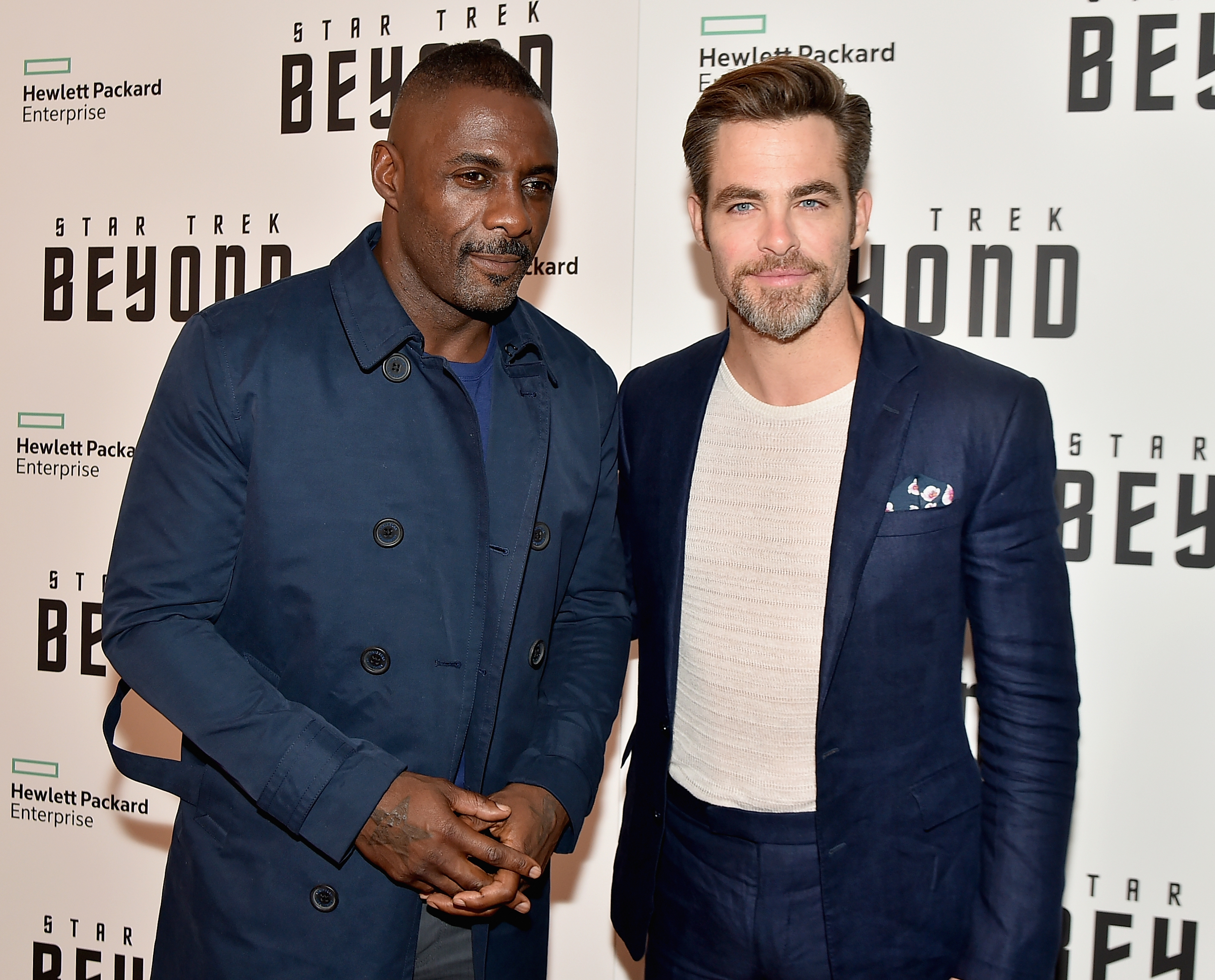 NEW YORK, NY - JULY 18:  Idris Elba and Chris Pine attend the  Star Trek Beyond  New York Premiere at Crosby Street Hotel on July 18, 2016 in New York City.  (Photo by Theo Wargo/Getty Images)