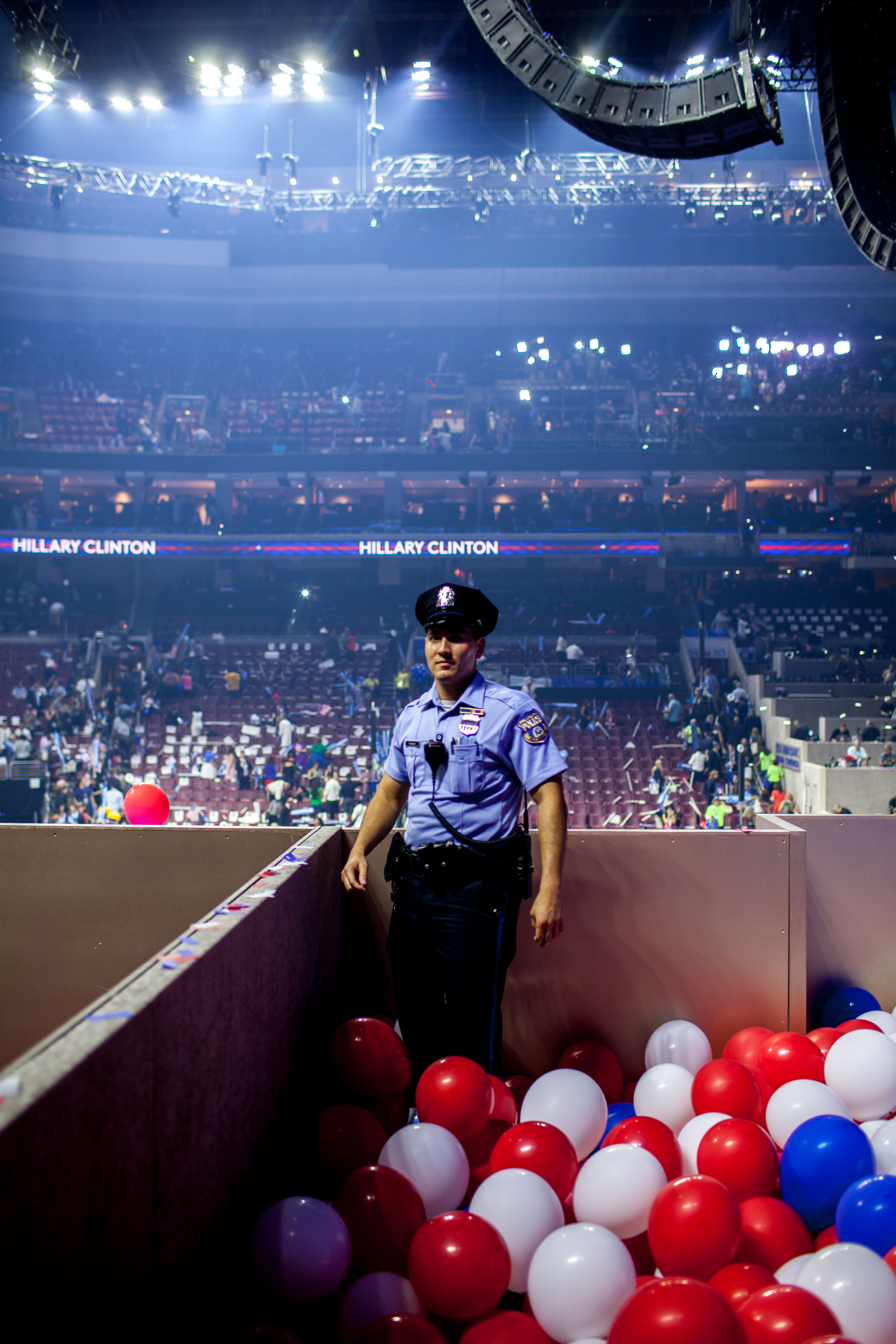 Security backstage on the fourth day of the Democratic National Convention at the Wells Fargo Center in Philadelphia, Pennsylvania July 28, 2016.