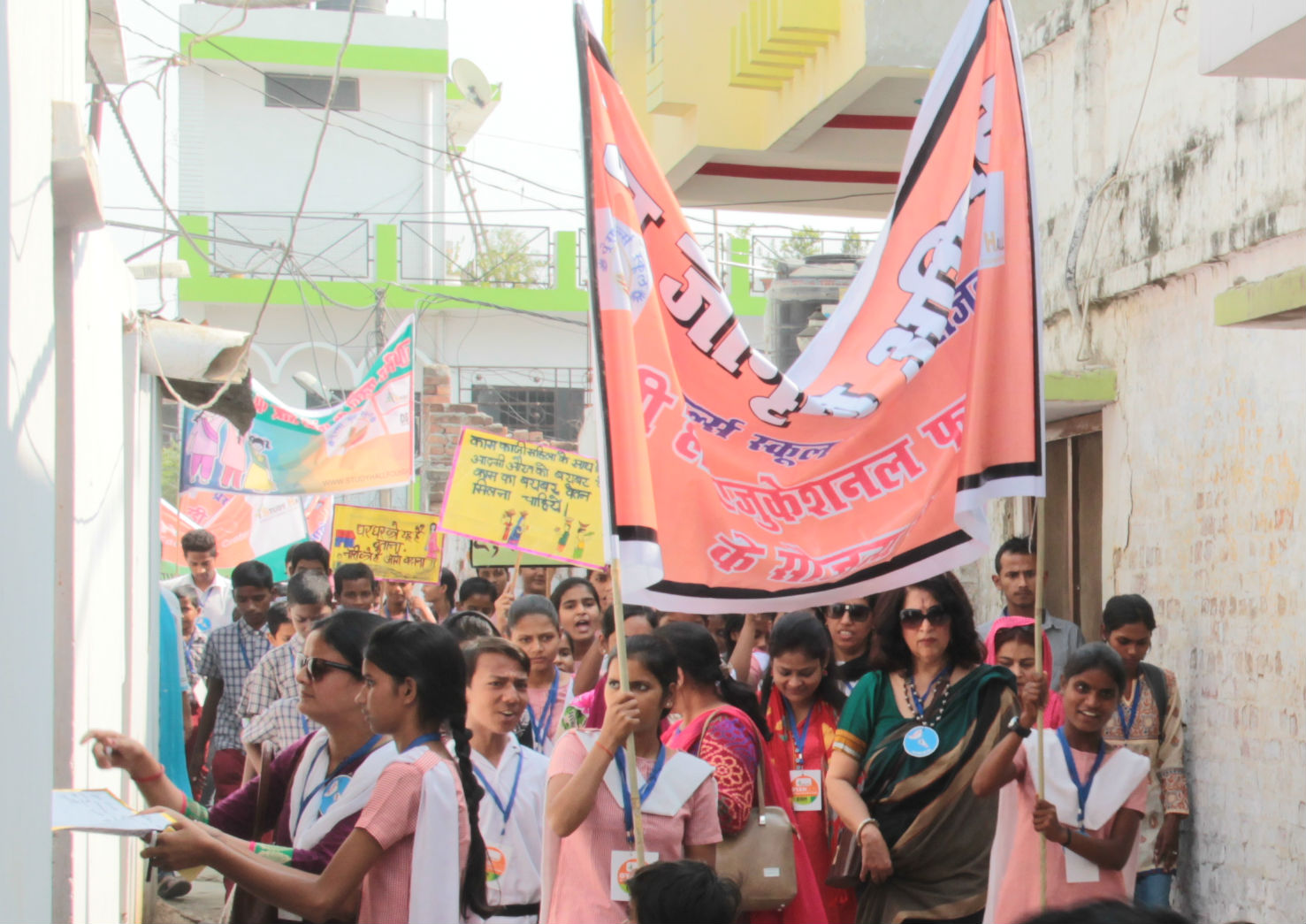 Prena students, led by the school's founder Urvashi Sahni, marching for girls' rights in India