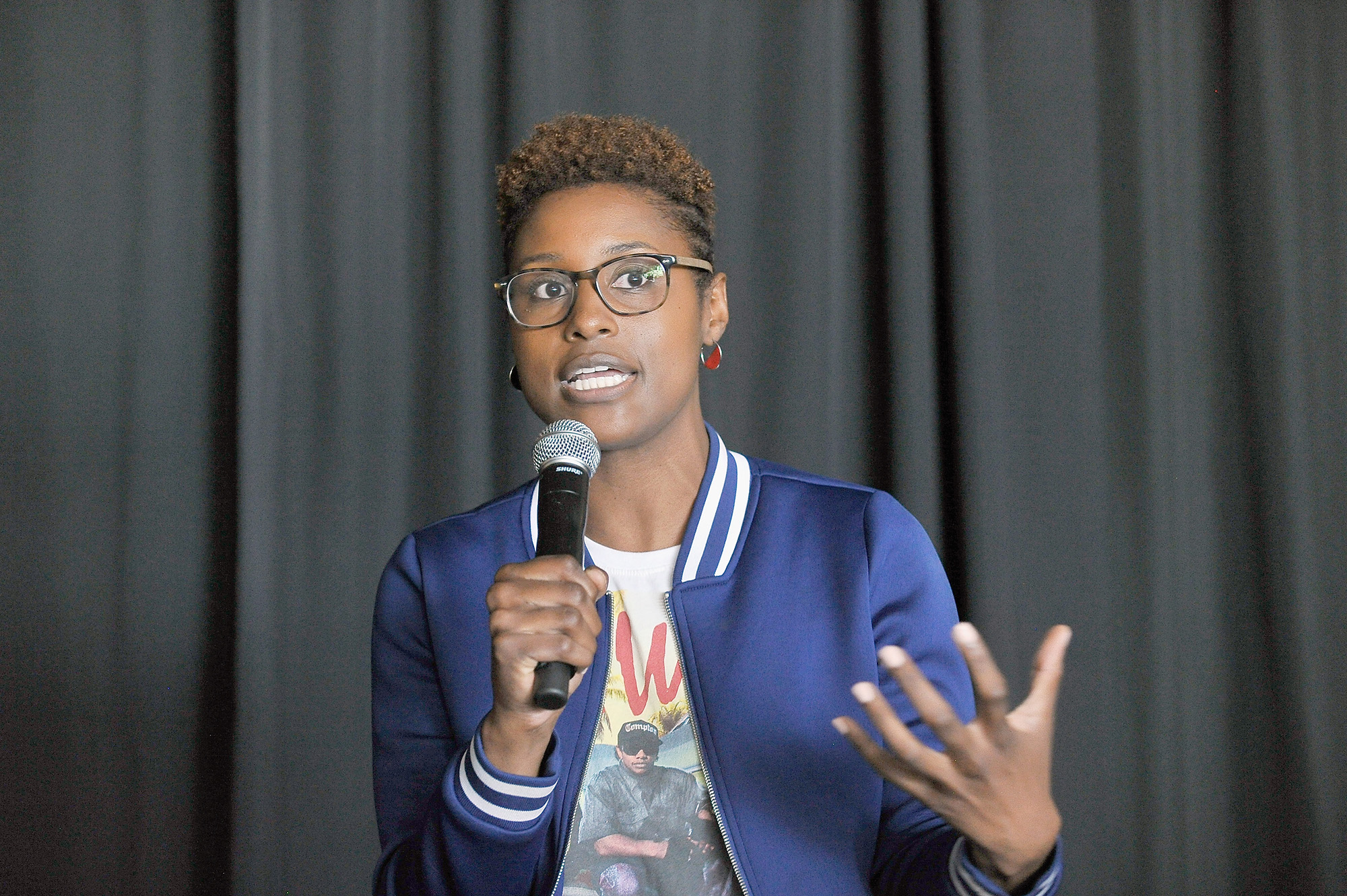 Issa Rae speaks onstage at the Diversity Speaks Panel during the 2016 Los Angeles Film Festival on June 4, 2016 in Culver City, California.  (Photo by Jerod Harris/WireImage)