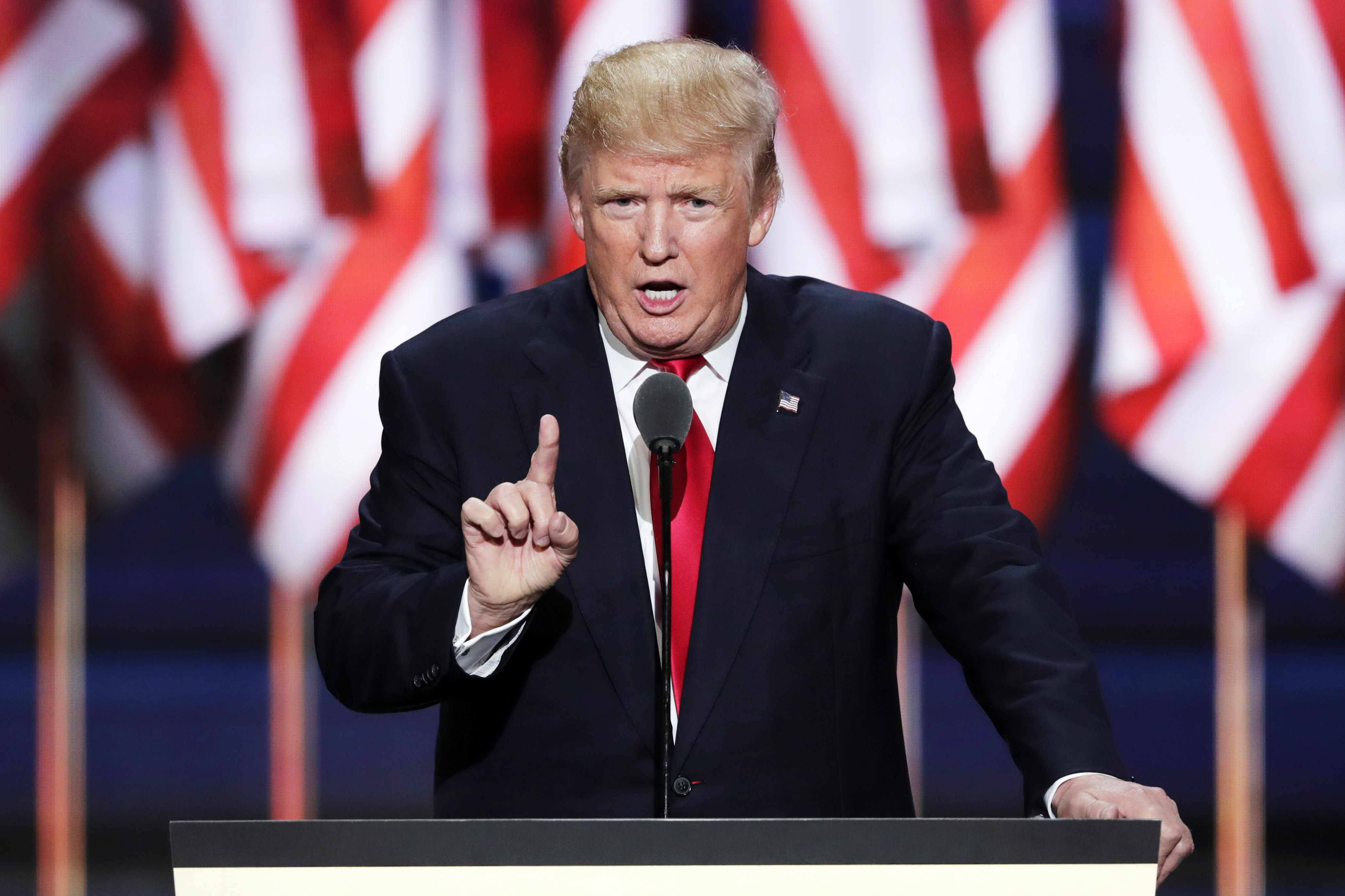 Republican presidential candidate Donald Trump speaks during the final day of the Republican National Convention in Cleveland, Thursday, July 21, 2016.