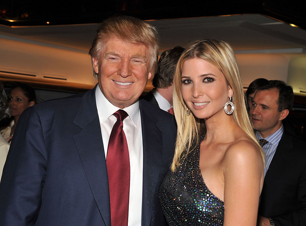 Donald Trump and Ivanka Trump attend the  The Trump Card: Playing to Win in Work and Life  book launch celebration at Trump Tower on Oct. 14, 2009 in New York City.