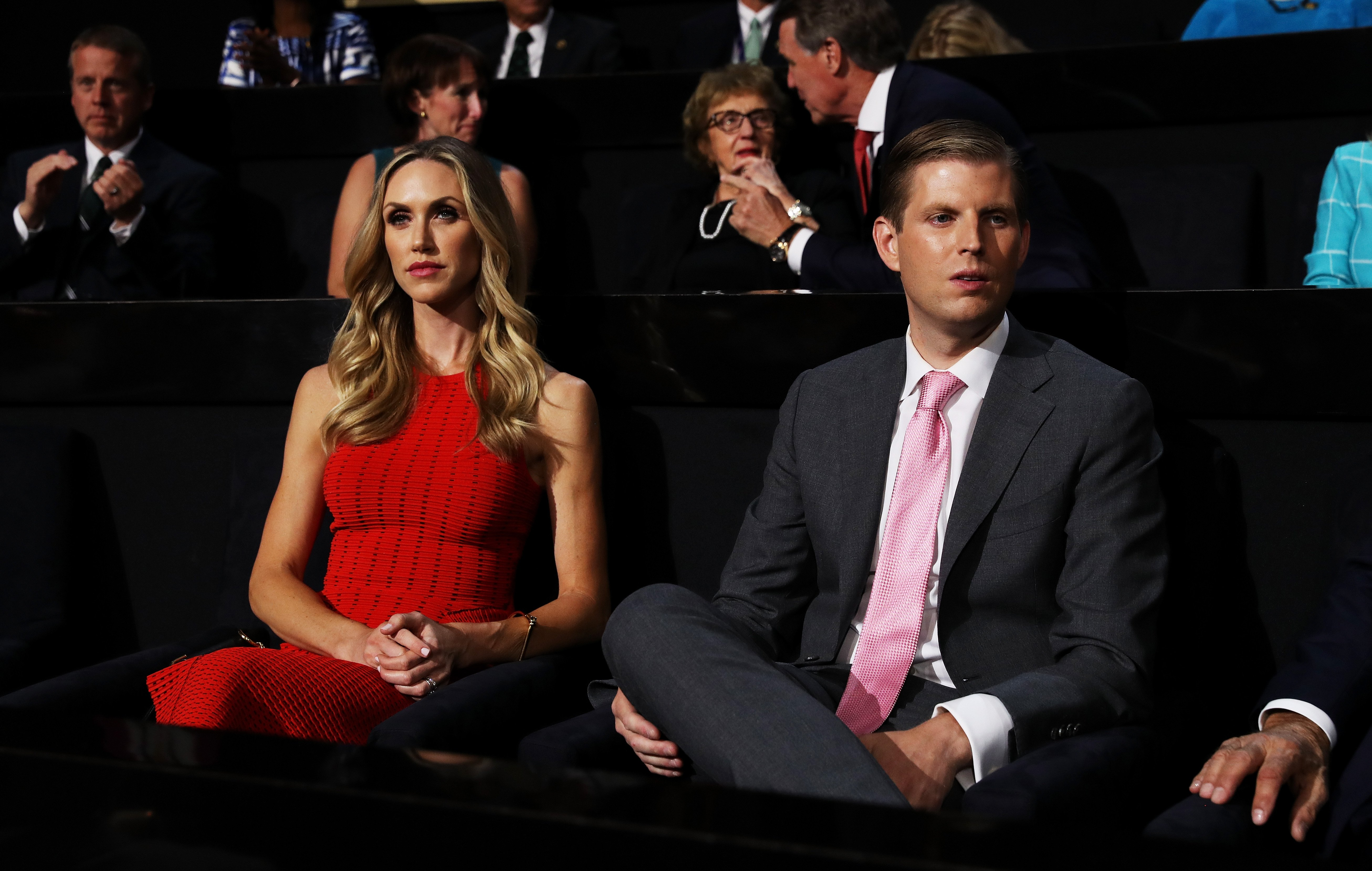 Eric Trump along with his wife, Lara Yunaska, attend the third day of the Republican National Convention on July 20, 2016 at the Quicken Loans Arena in Cleveland, Ohio.