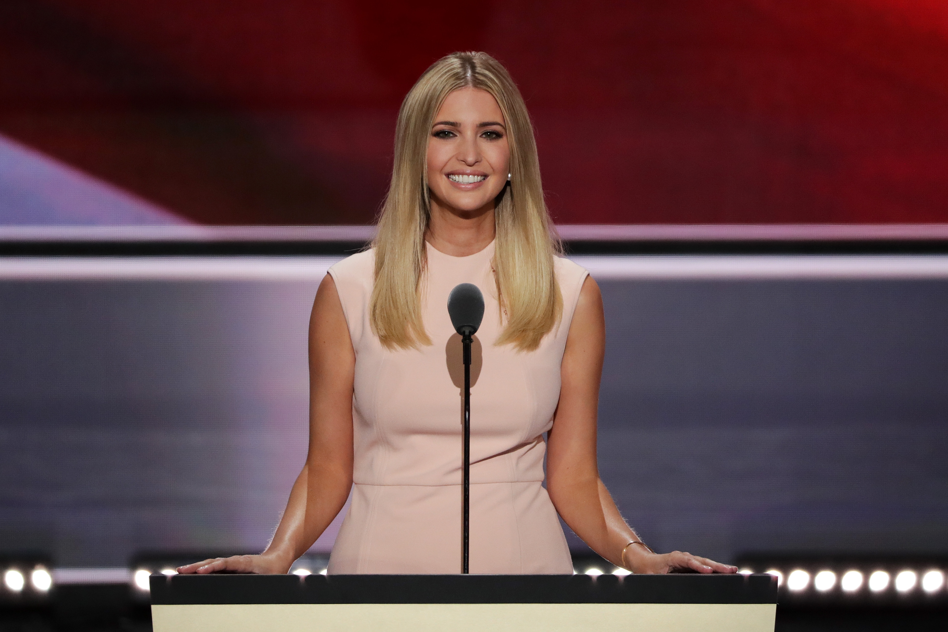 Ivanka Trump delivers a speech during the evening session on the fourth day of the Republican National Convention at the Quicken Loans Arena in Cleveland on July 21, 2016 .