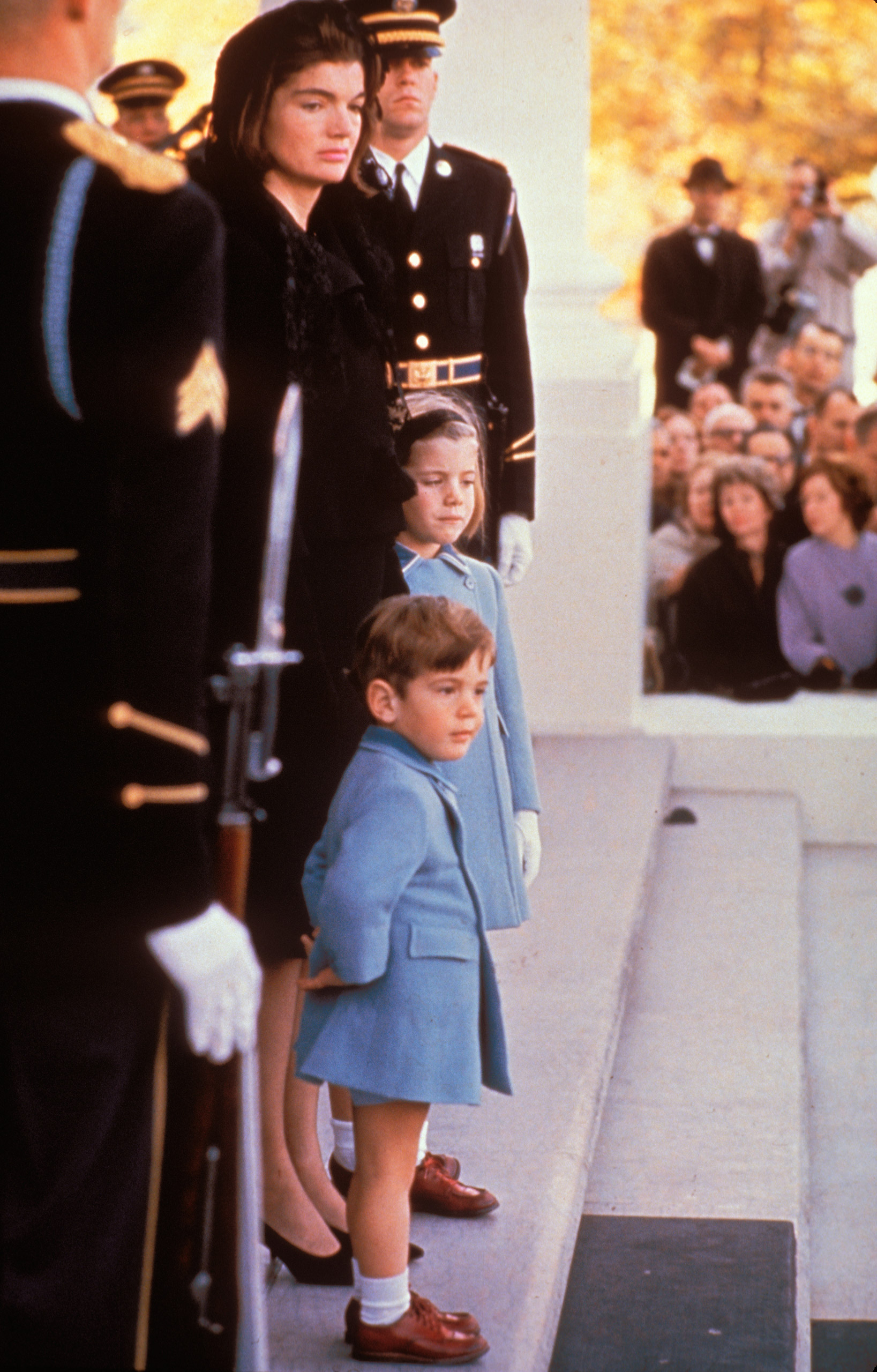 Jackie Kennedy with Caroline and John Jr. at JFK's funeral.