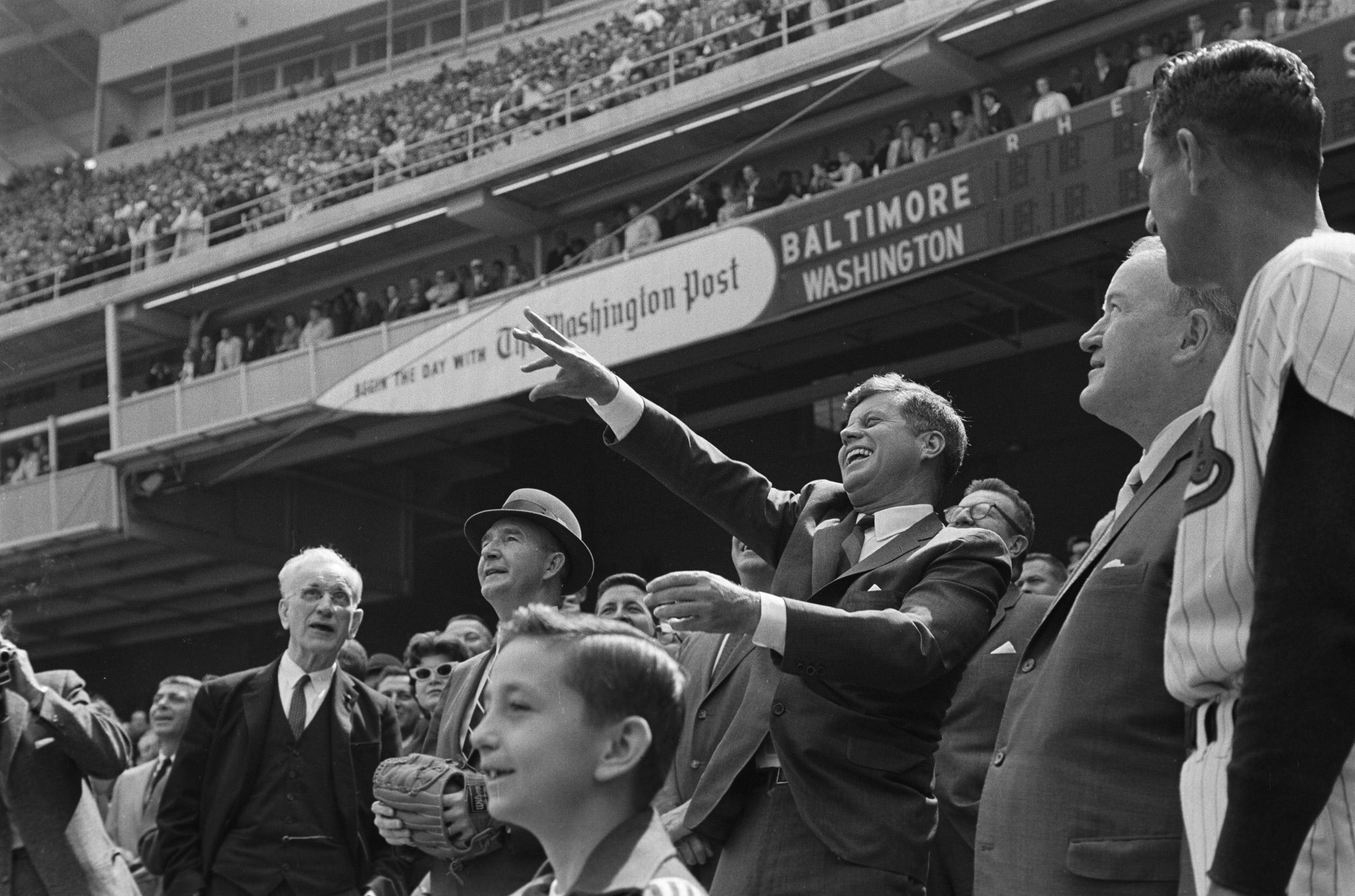 John F. Kennedy at a baseball game.