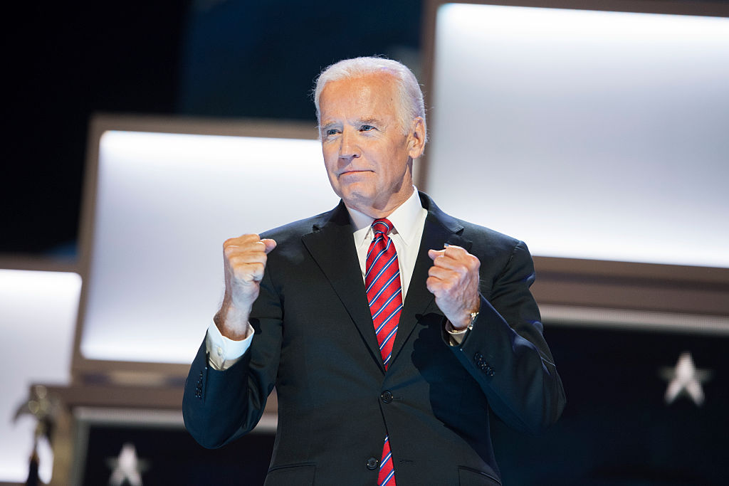Vice President Joe Biden appears on stage at the Wells Fargo Center in Philadelphia, Pa., on the third day of the Democratic National Convention, July 27, 2016.