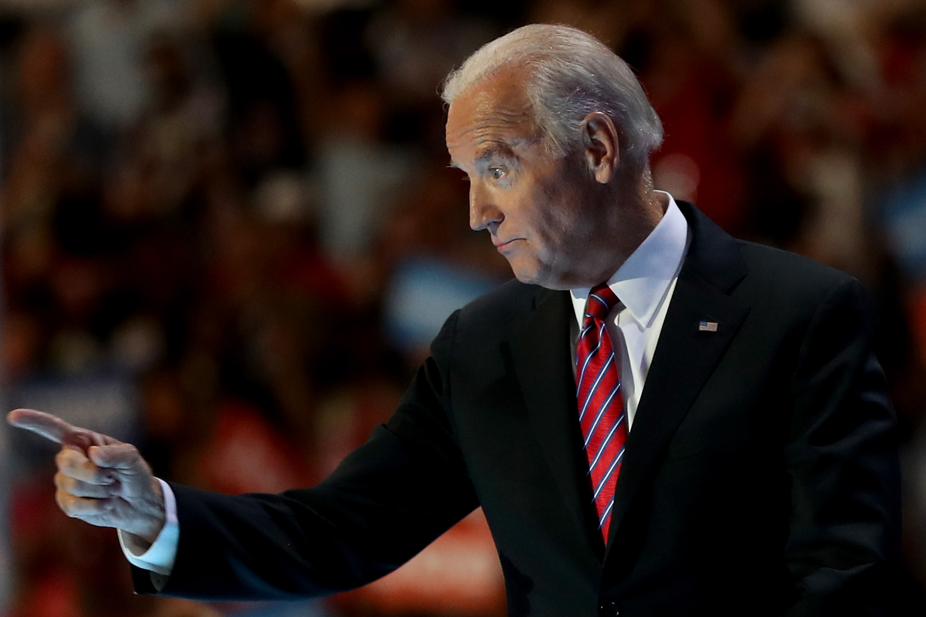 US Vice President Joe Biden delivers remarks on the third day of the Democratic National Convention at the Wells Fargo Center on July 27, 2016 in Philadelphia, Pennsylvania.