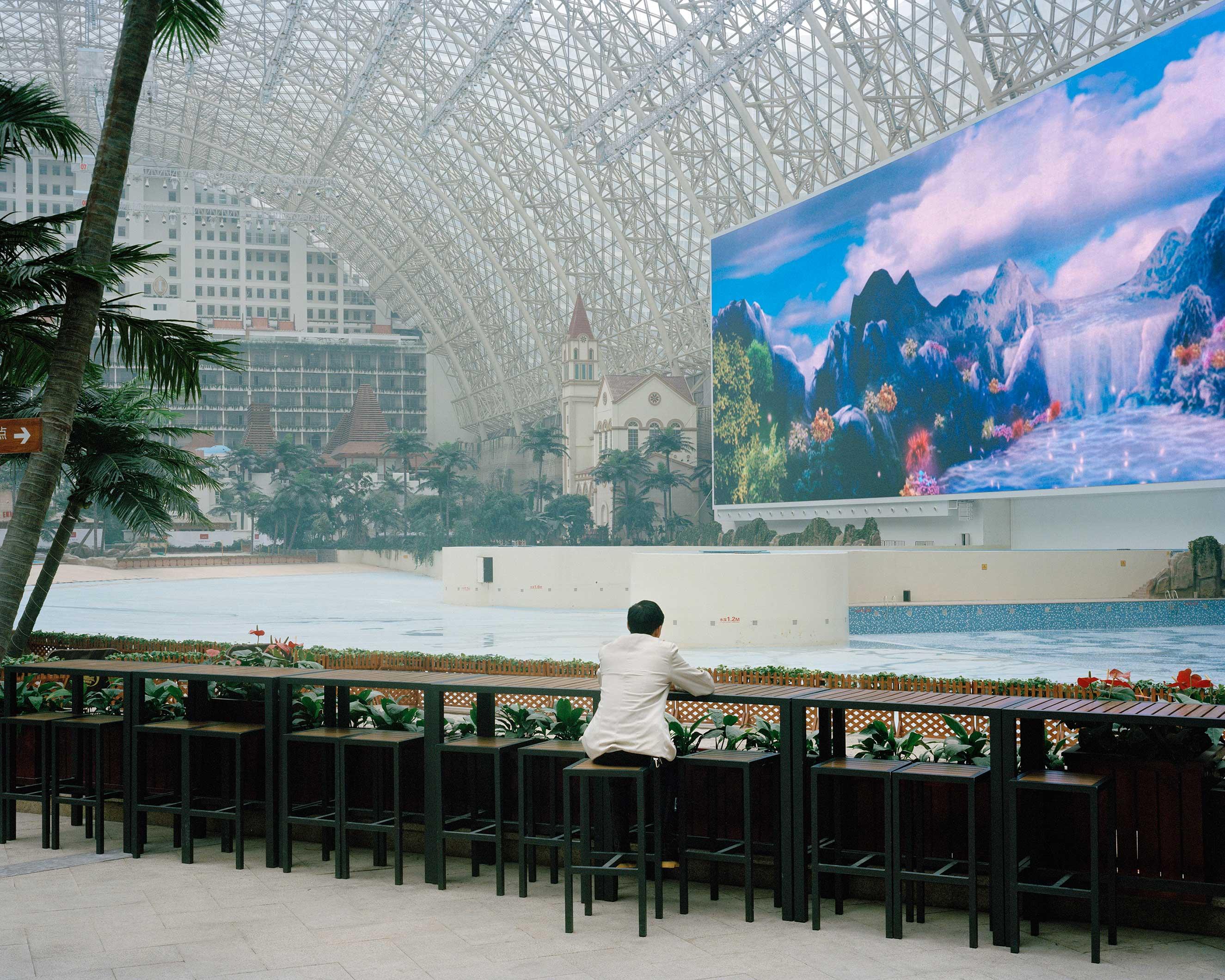 Chengdu, China, January 2015. New Century Global Center, world's biggest mall.