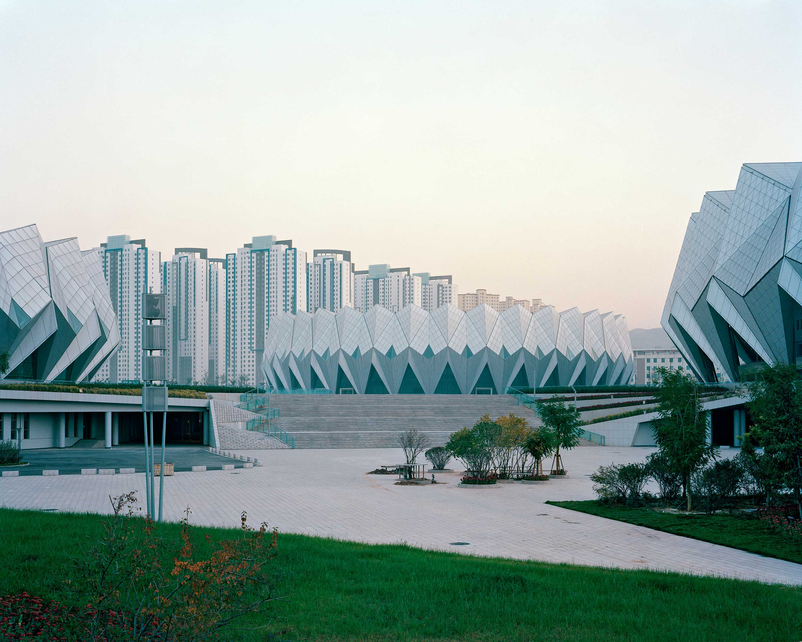 Chengxi district, Xining, Qinghai, China, September 2013. Sports center.
