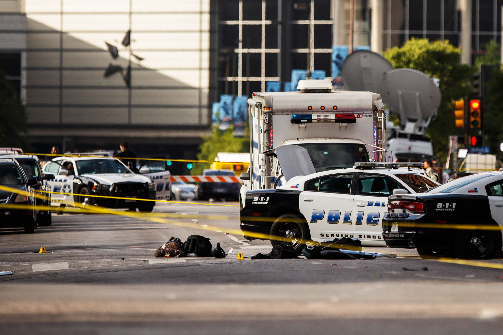 Bullet casings and police gear are laid out at the scene of a sniper shooting, in Dallas, on July 8, 2016.