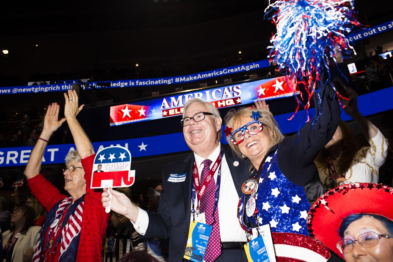 Scenes from the floor at the 2016 Republican National Convention in Cleveland on Thursday, July 21, 2016.