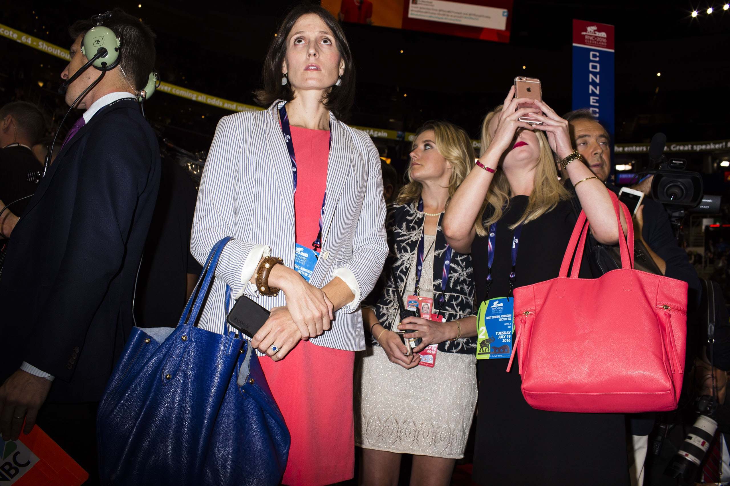 Oversized, colorful handbags are spotted on the floor of the Republican National Convention in Cleveland on Tuesday, July 19, 2016.