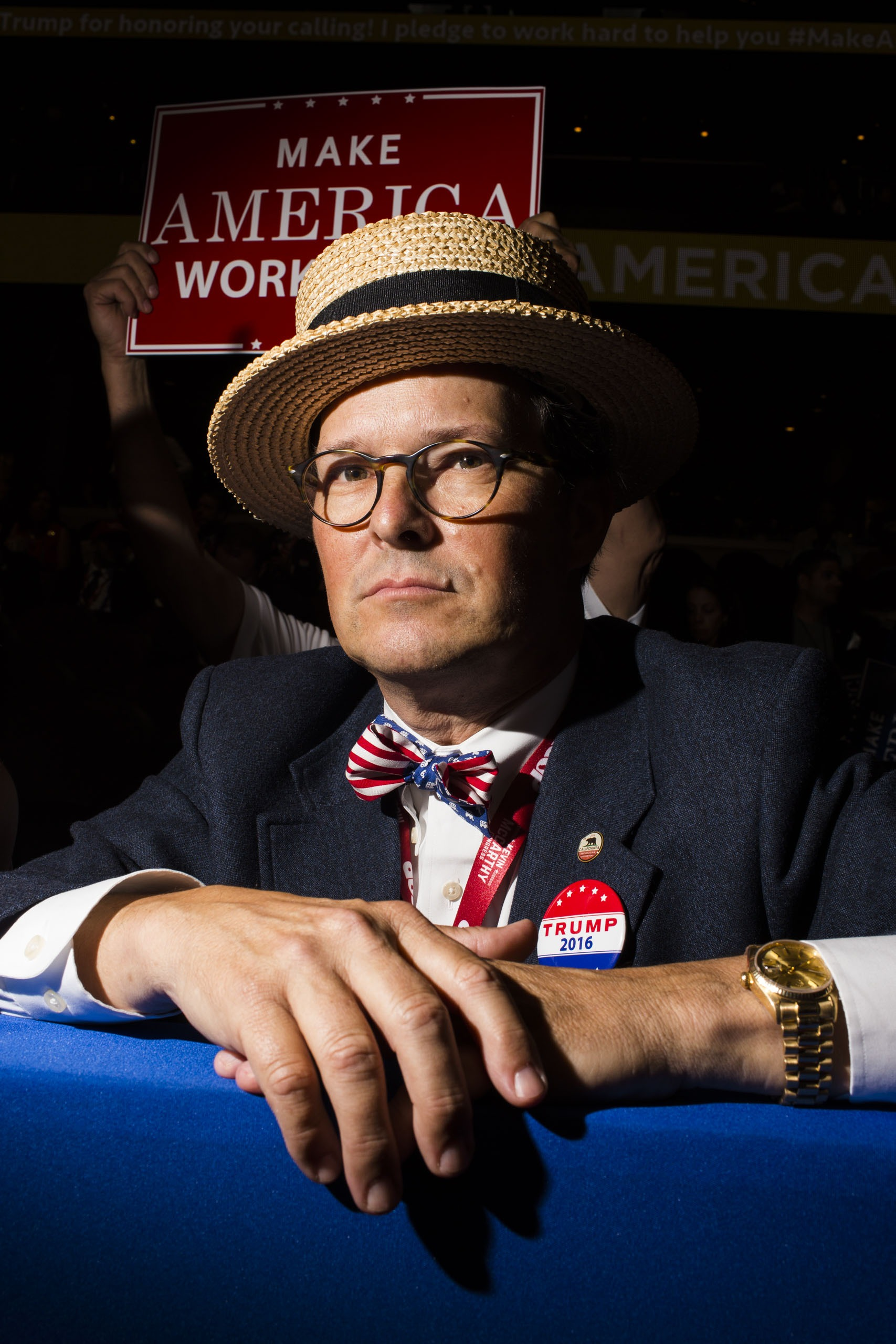 A man sports a dapper look on the floor of the Republican National Convention in Cleveland on Tuesday, July 19, 2016.