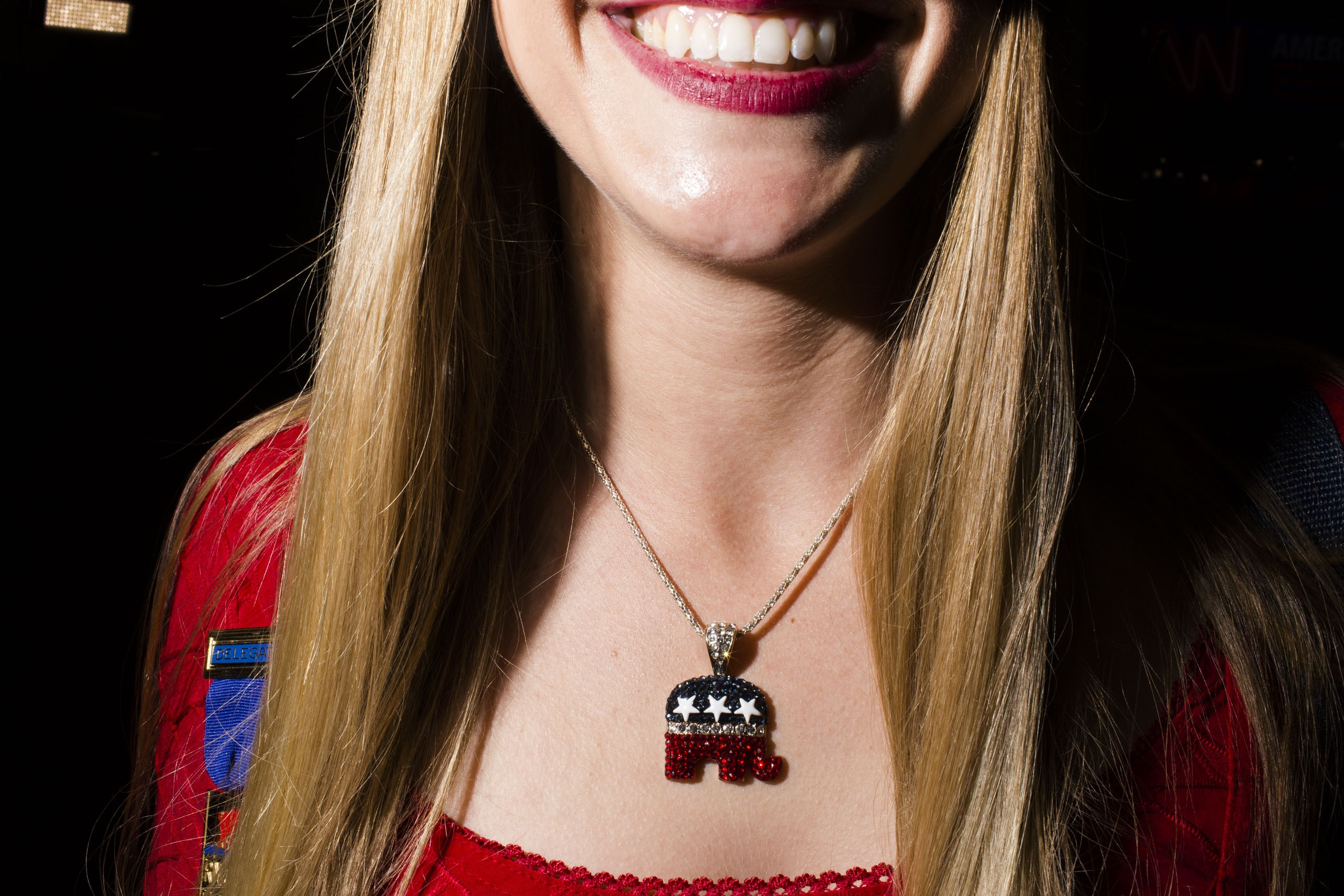 An elephant pendant is worn on the floor of the Republican National Convention in Cleveland on Tuesday, July 19, 2016.