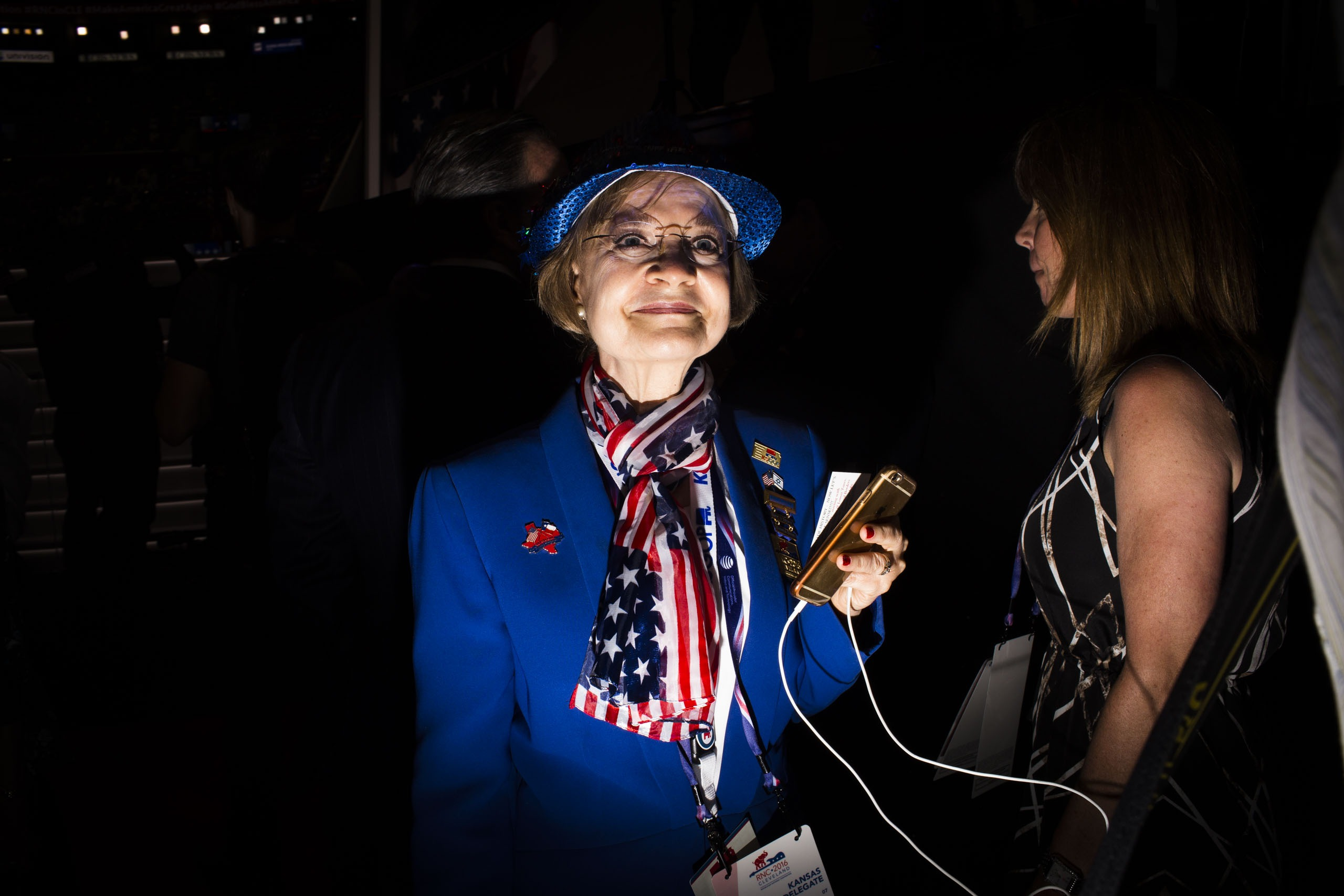 A star-spangled scarf appears on the RNC floor Wednesday, July 20, 2016, in Cleveland.