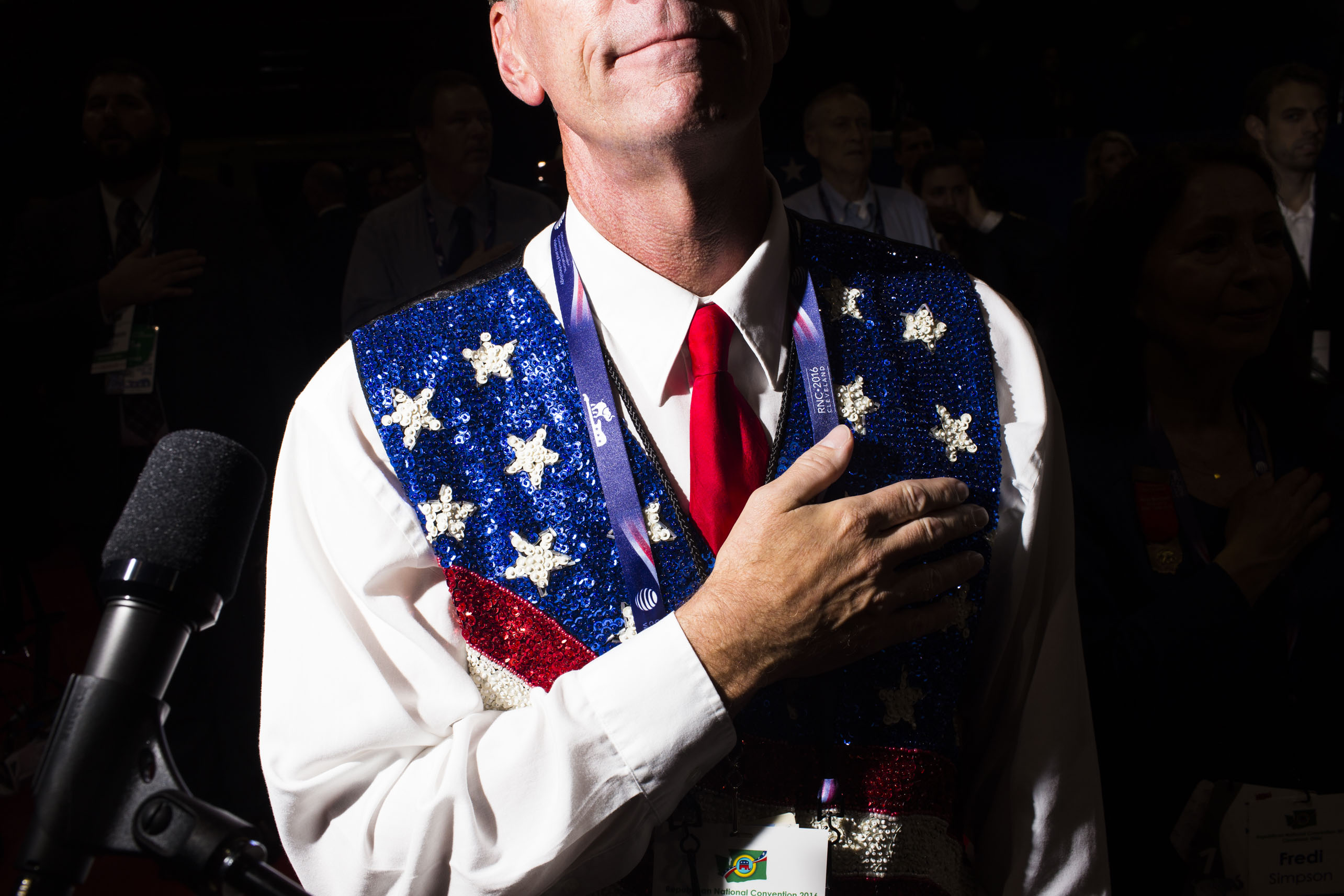 Photographer Landon Nordeman captures scenes from the floor of the 2016 Republican National Convention in Cleveland, while on assignment for TIME. Here, a star-spangled, sequined vest makes a statement on the opening day, Monday, July 18, 2016.