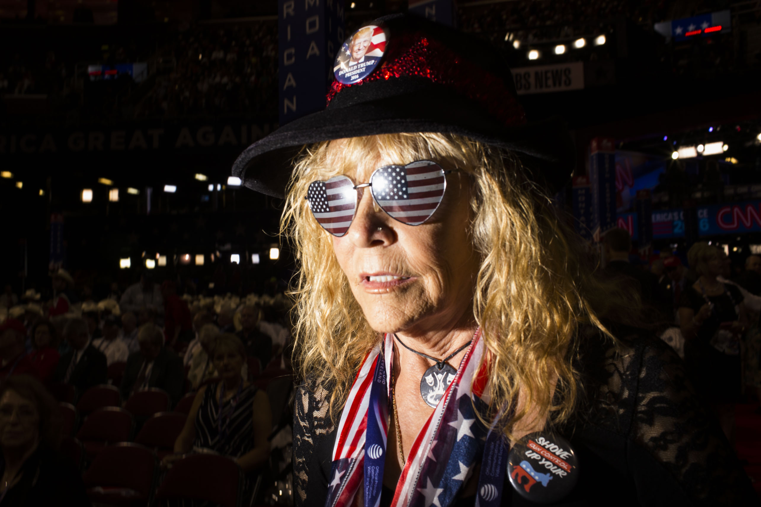 Flags are an essential theme at the 2016 Republican National Convention on Monday, July 18, 2016, in Cleveland.