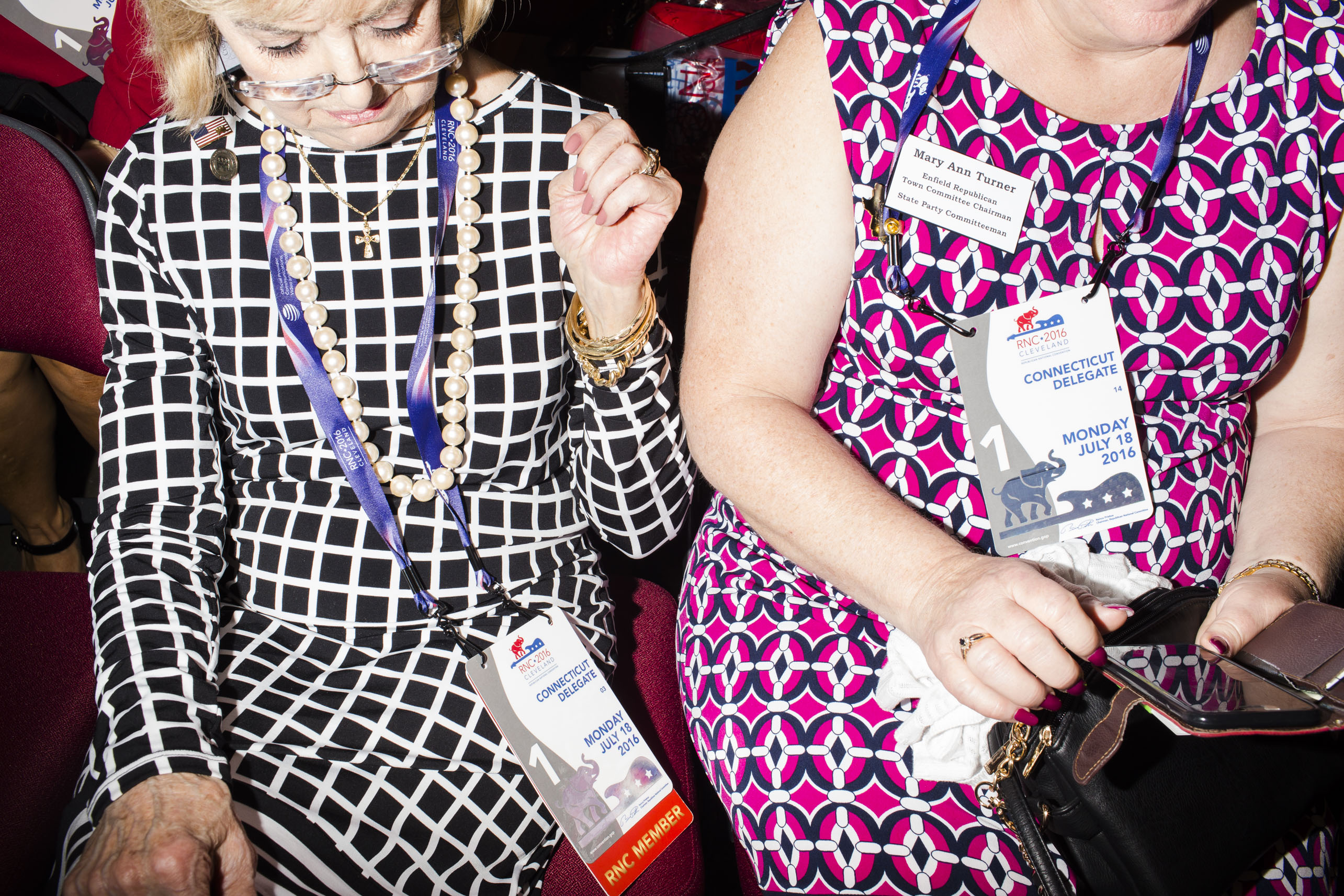 Bold patterns and big beads on the floor of the 2016 Republican National Convention on Monday, July 18, 2016, in Cleveland.