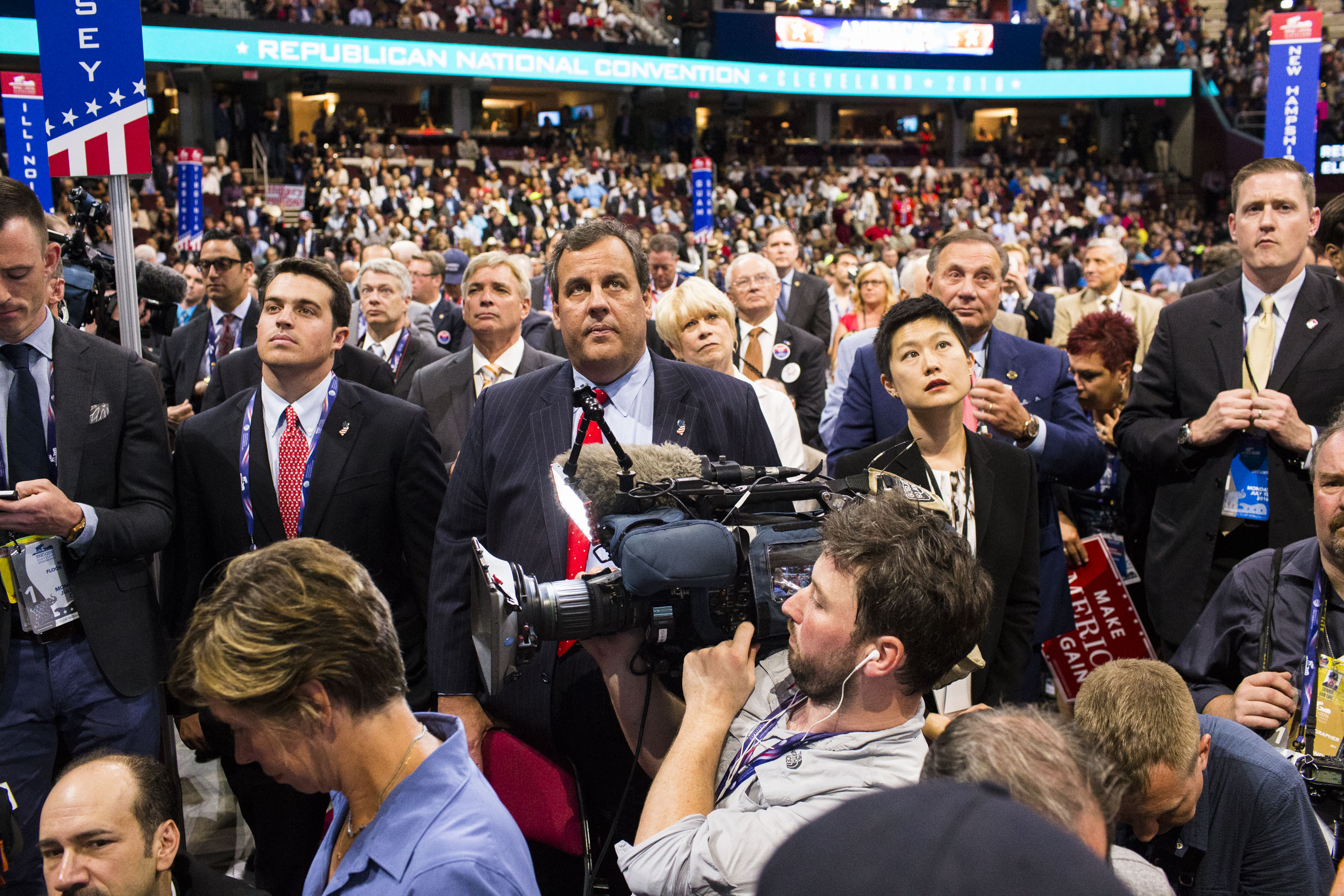 Chris Christie on the floor of the 2016 Republican National Convention on Monday, July 18, 2016, in Cleveland.