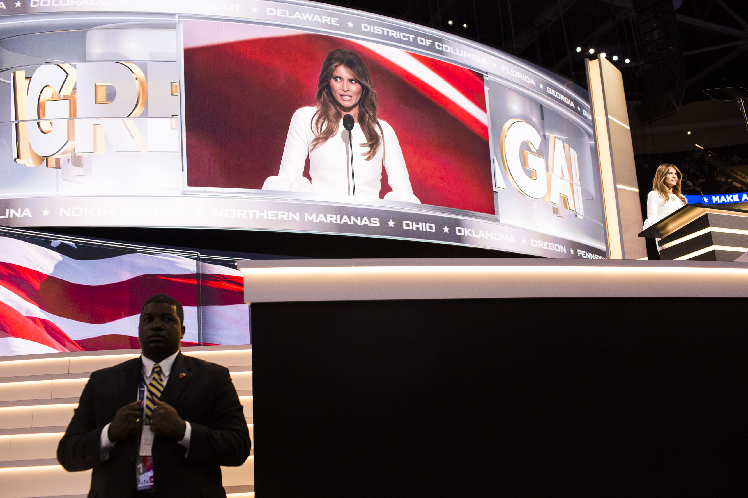 Melania Trump speaks to the crowd at the 2016 Republican National Convention on Monday, July 18, 2016, in Cleveland.