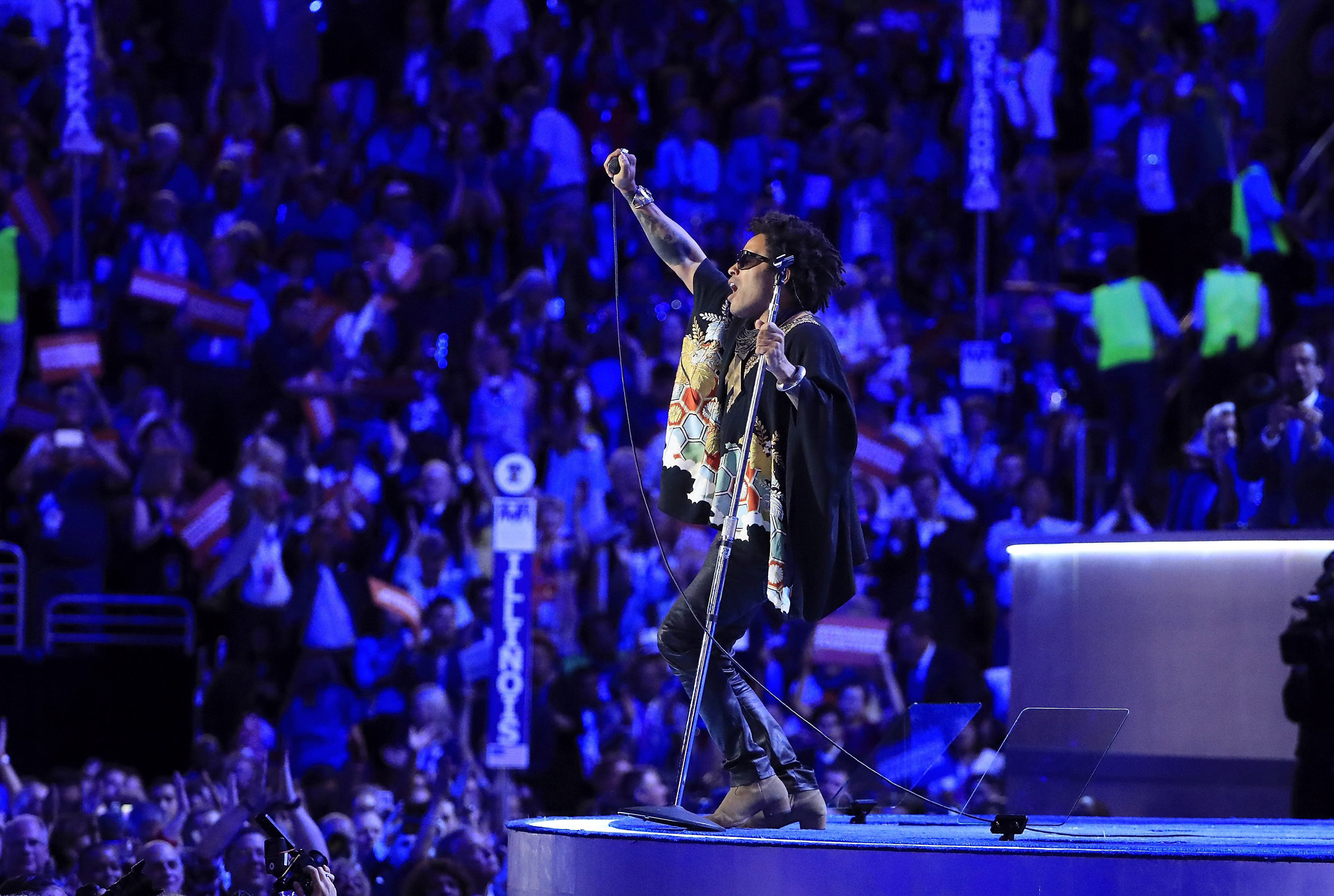 Lenny Kravitz performs during the third day of the Democratic National Convention at the Wells Fargo Center in Philadelphia on July 26, 2016.